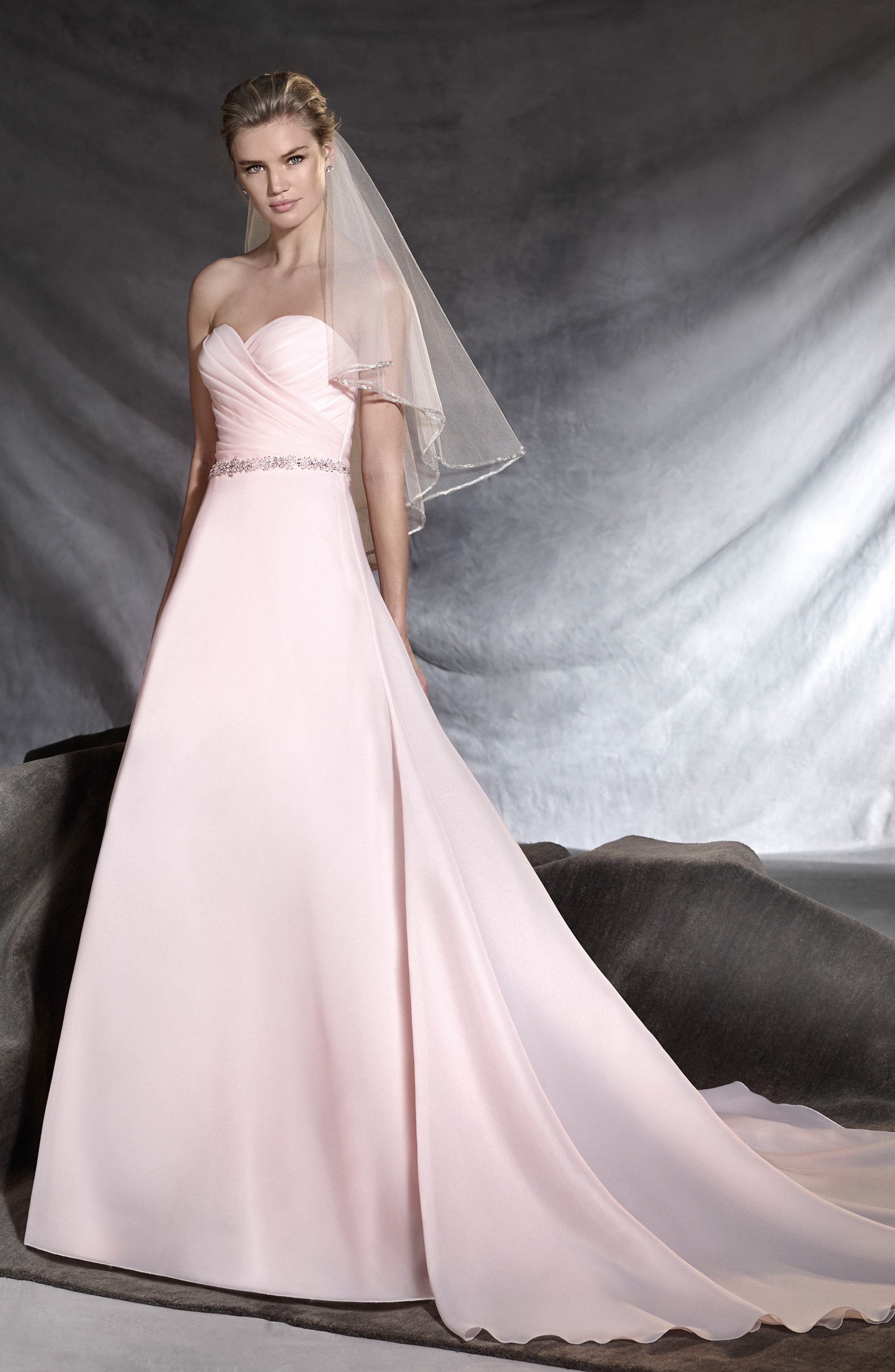 Ortuella Strapless Chiffon A-Line Gown,                             Alternate thumbnail 2, color,