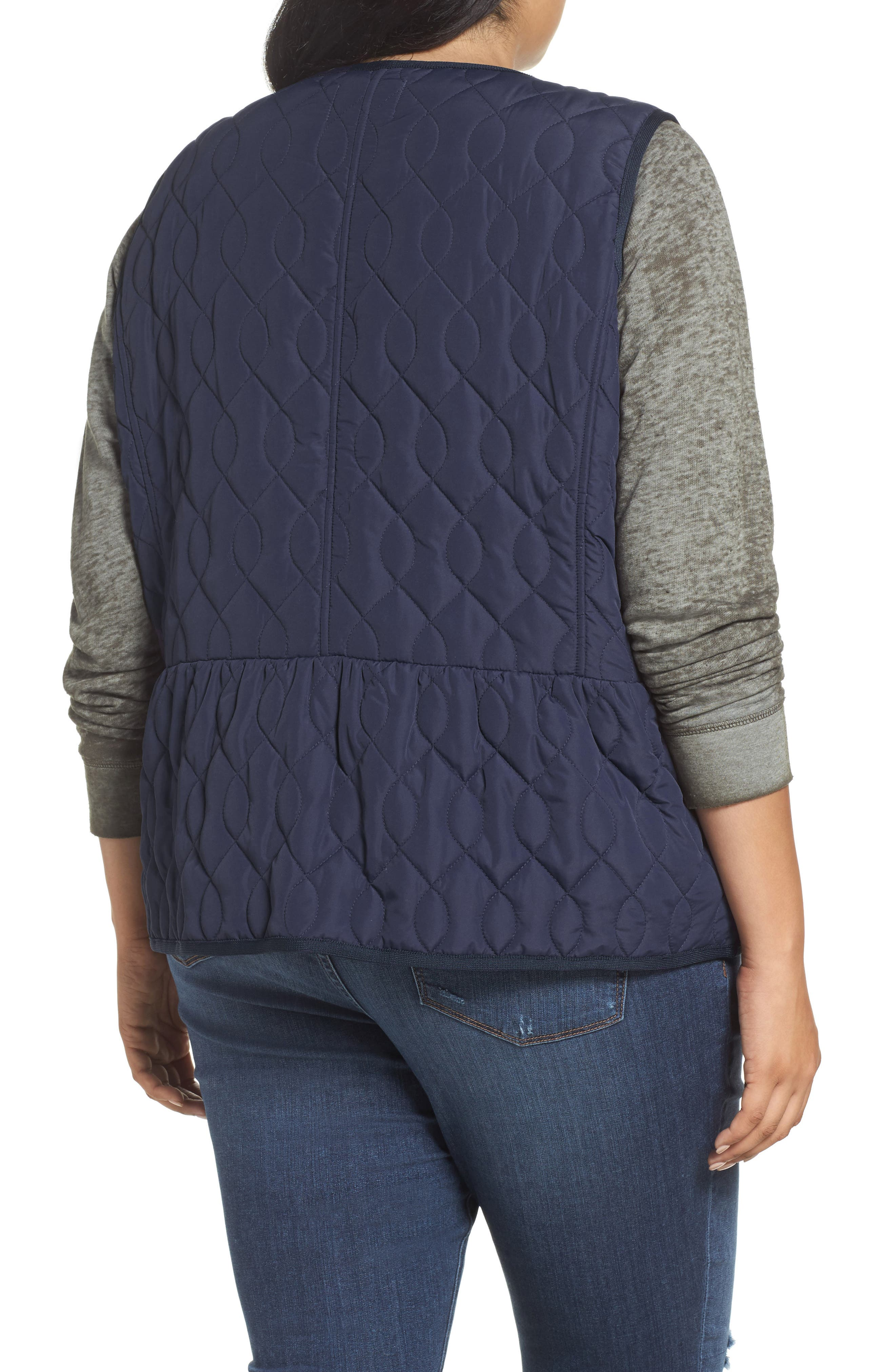 Collarless Quilted Vest,                             Alternate thumbnail 2, color,