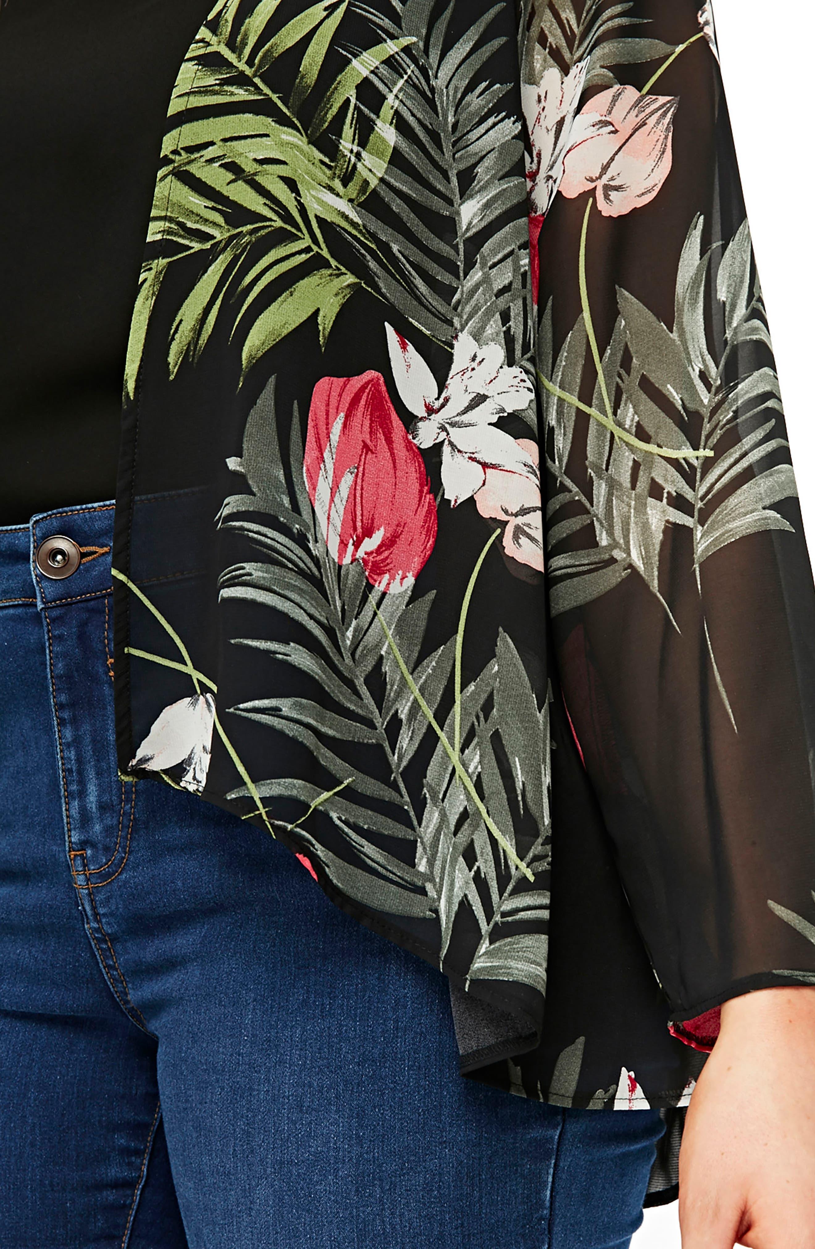 EVANS,                             Floral Kimono Jacket,                             Main thumbnail 1, color,                             001