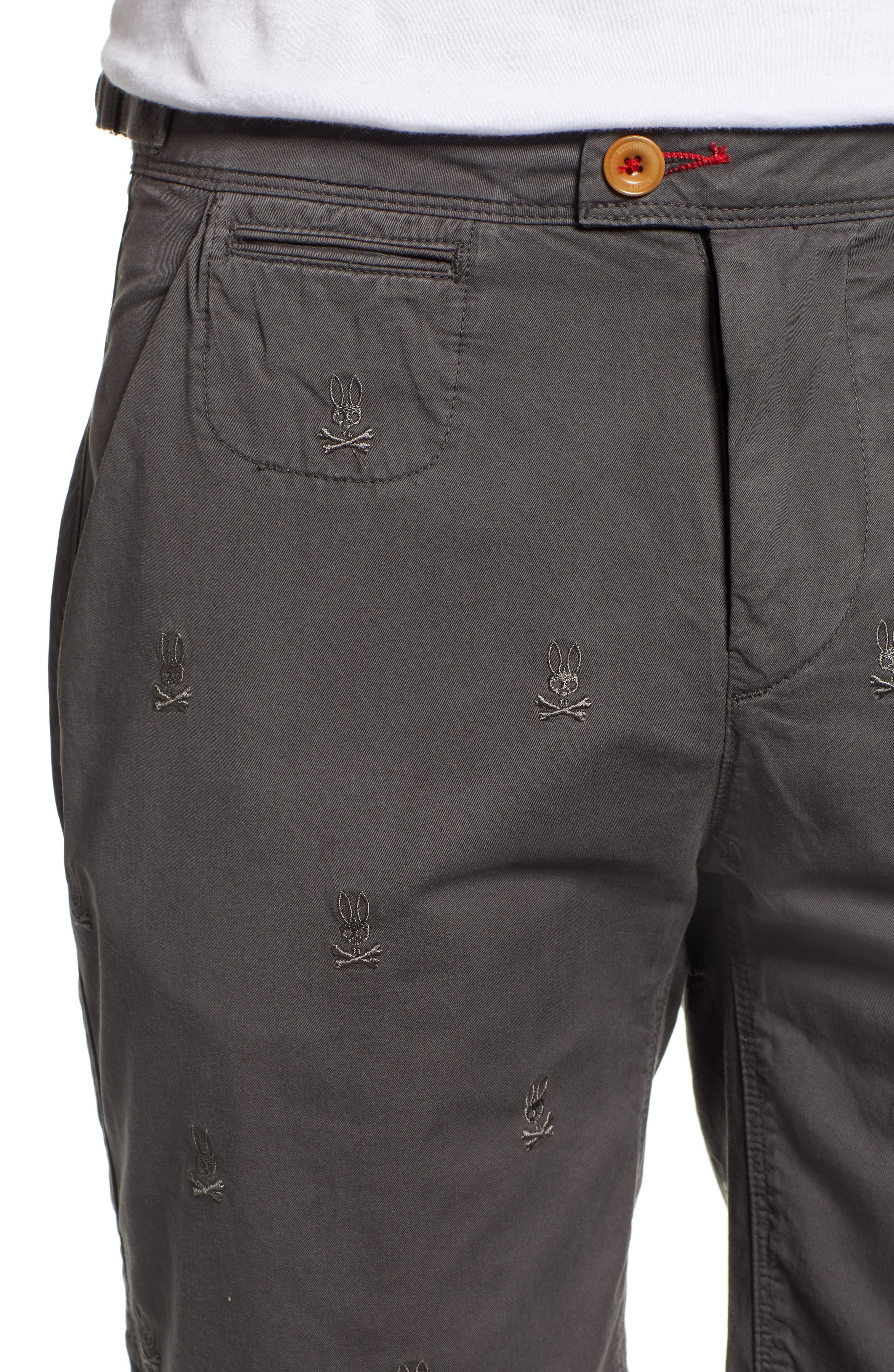 Psycho Bunny Embroidered Shorts,                             Alternate thumbnail 4, color,                             BLACK SAND