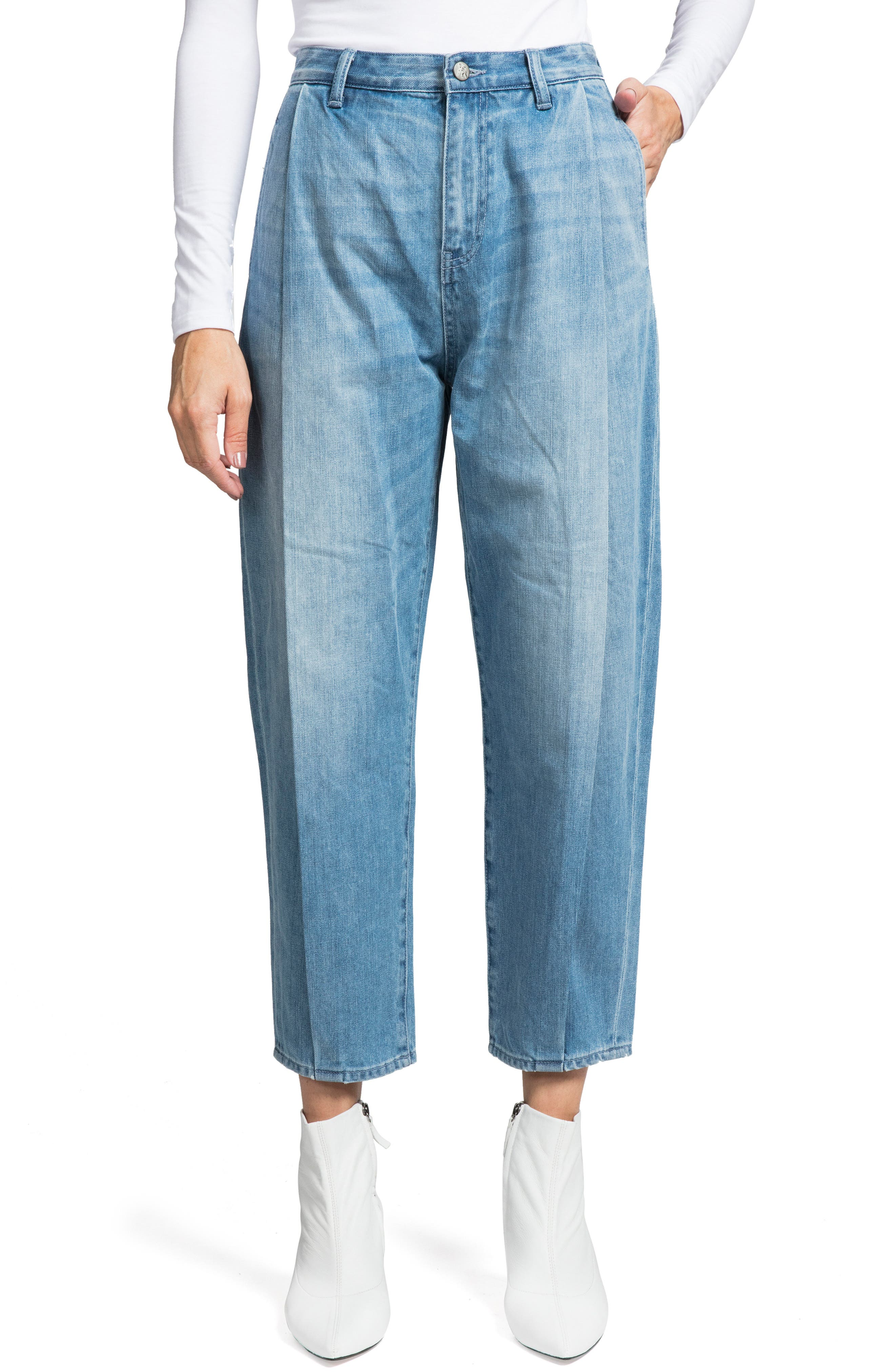 PRPS Seamed Mid-Rise Denim Gaucho Pants in Light Wash