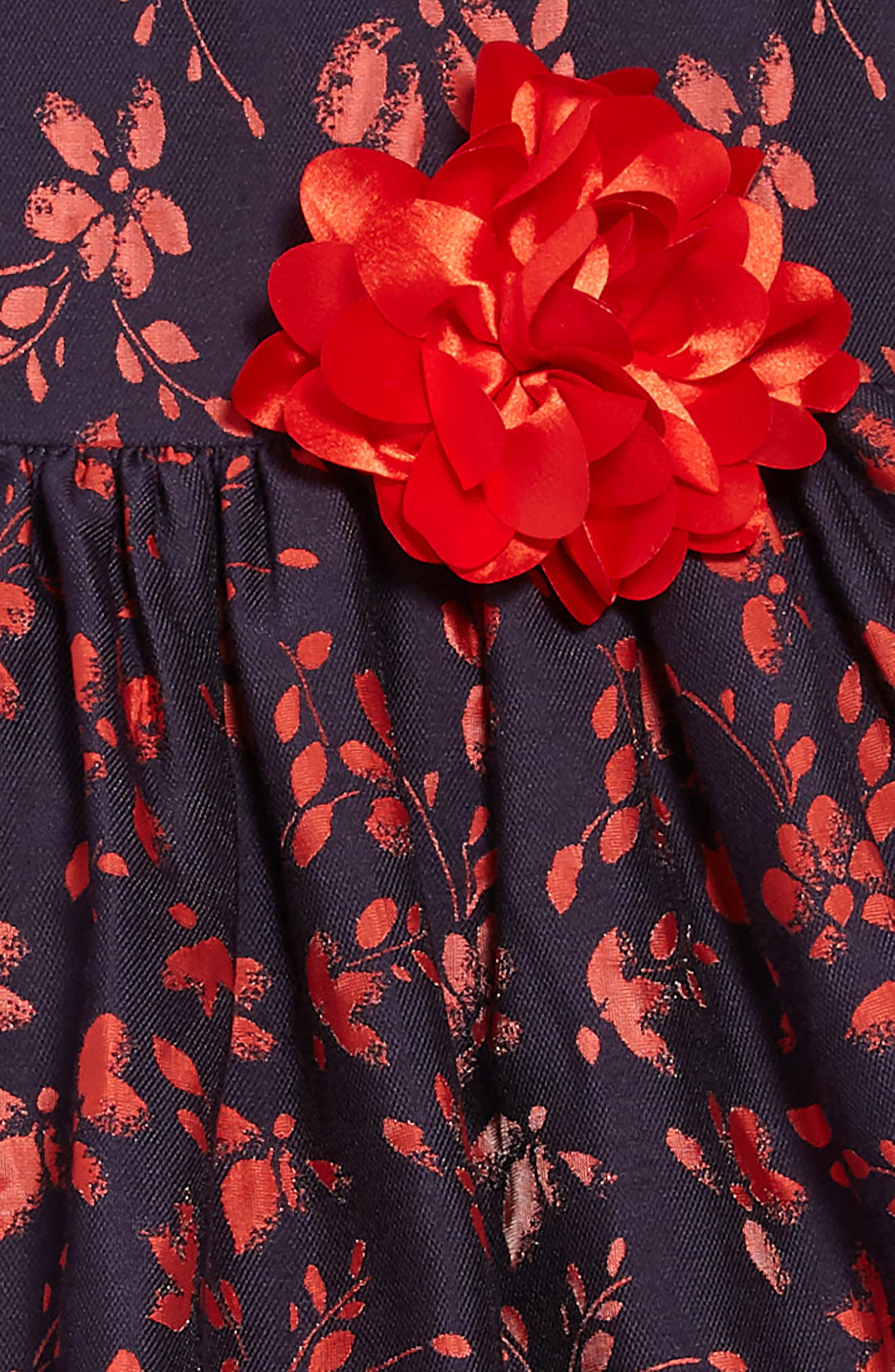 Floral Jacquard Dress,                             Alternate thumbnail 3, color,                             NAVY
