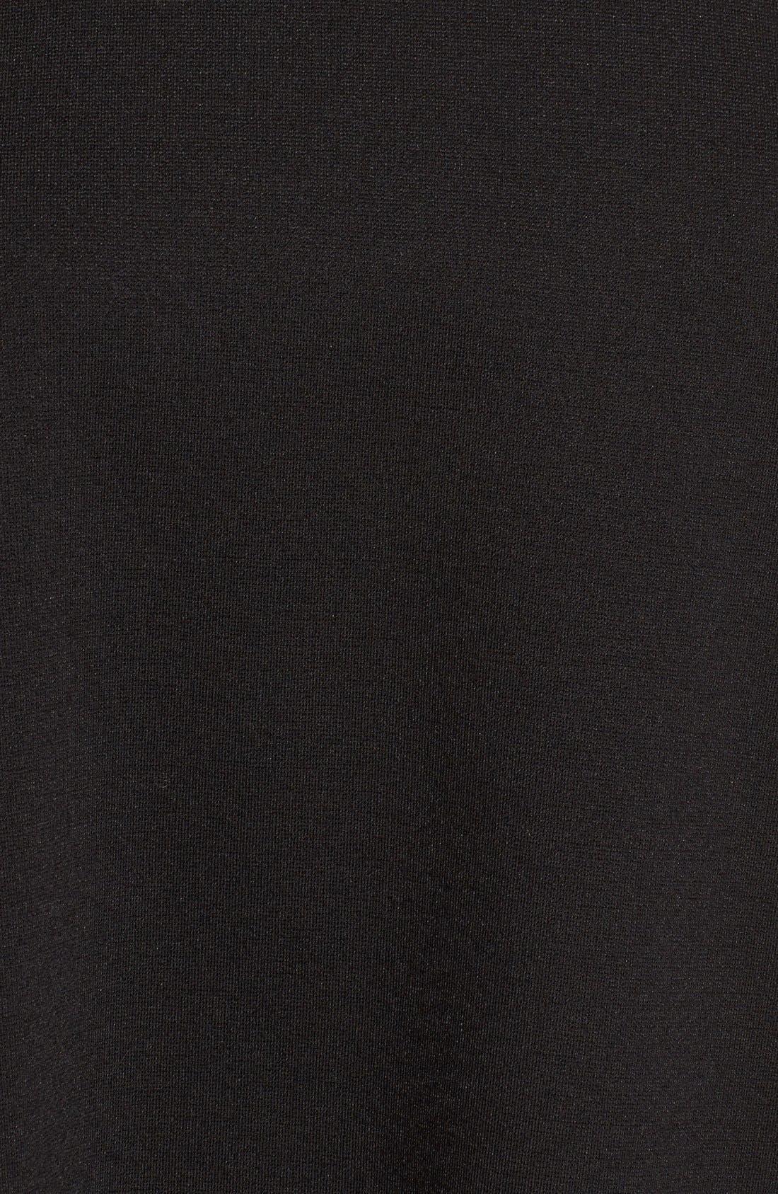 Faux Calf Hair Collar Dress,                             Alternate thumbnail 5, color,                             001