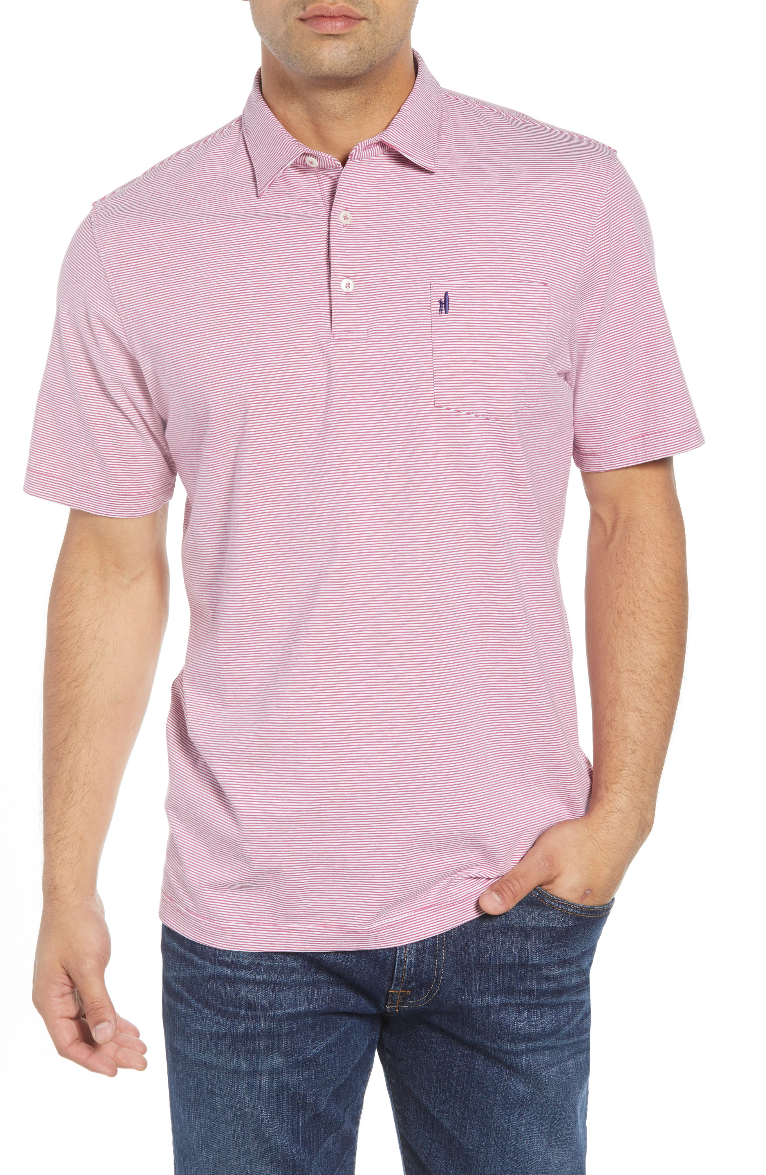 JOHNNIE-O Gentry Striped Regular Fit Polo Shirt in Sangria