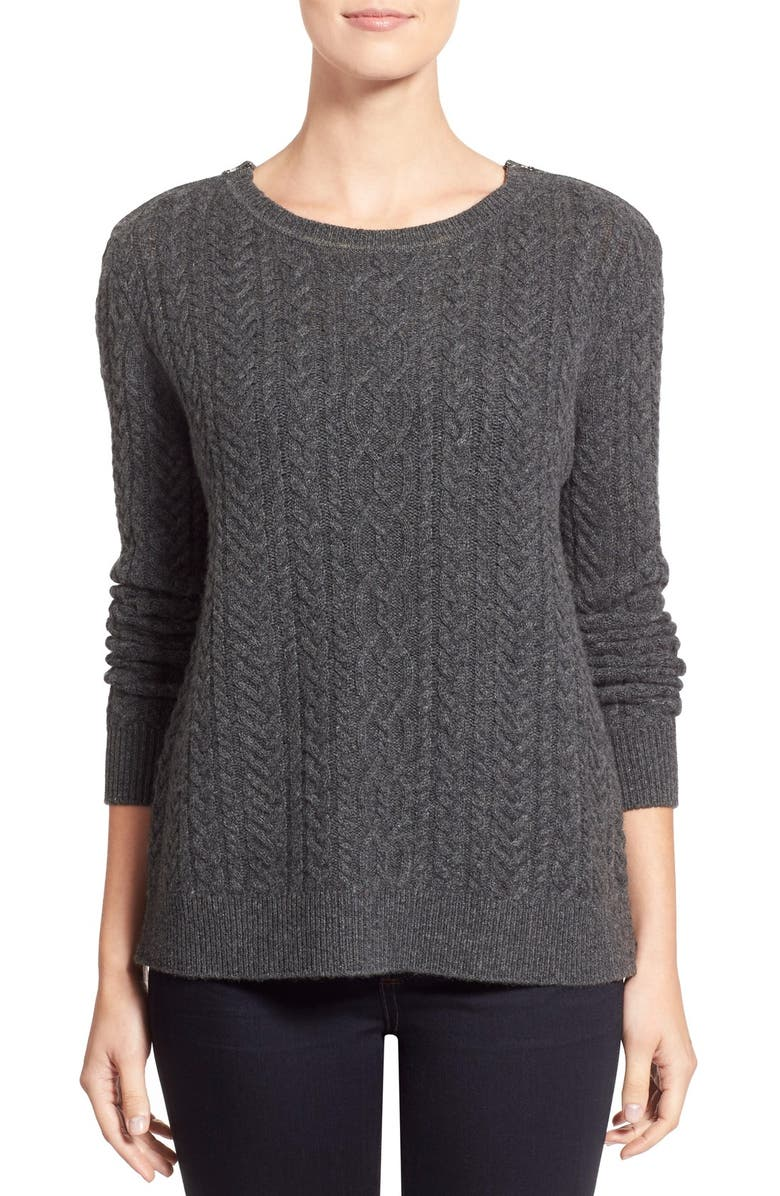 b2ed538d941a Nordstrom Collection Zip Shoulder Cable Wool   Cashmere Sweater ...