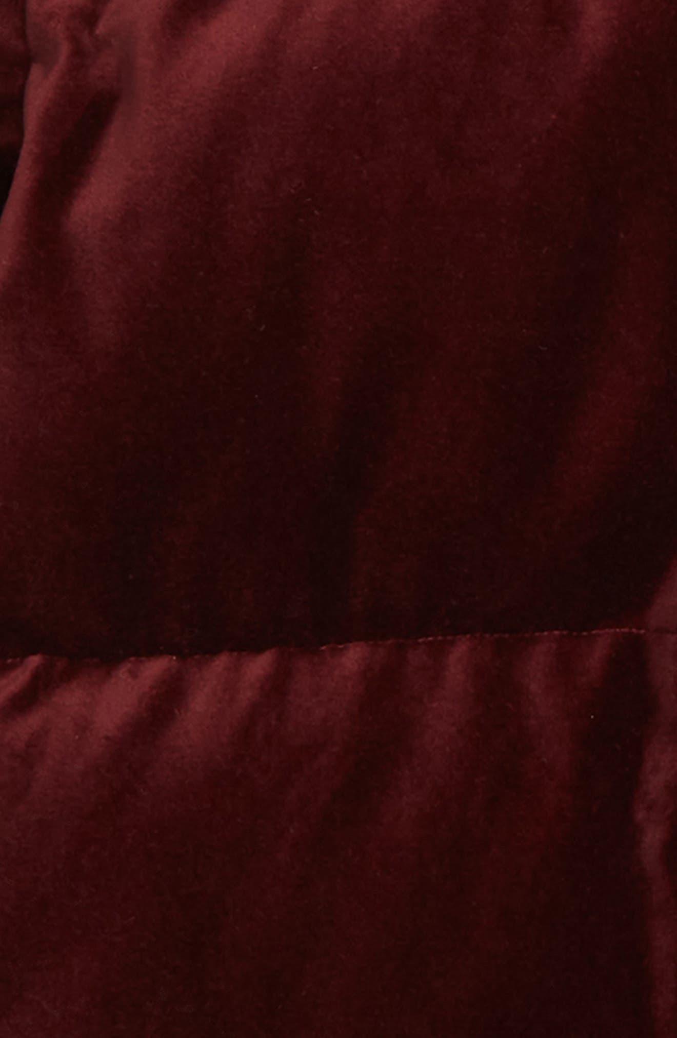 Ruby Velvet Puffer Jacket,                             Alternate thumbnail 2, color,                             BURGUNDY