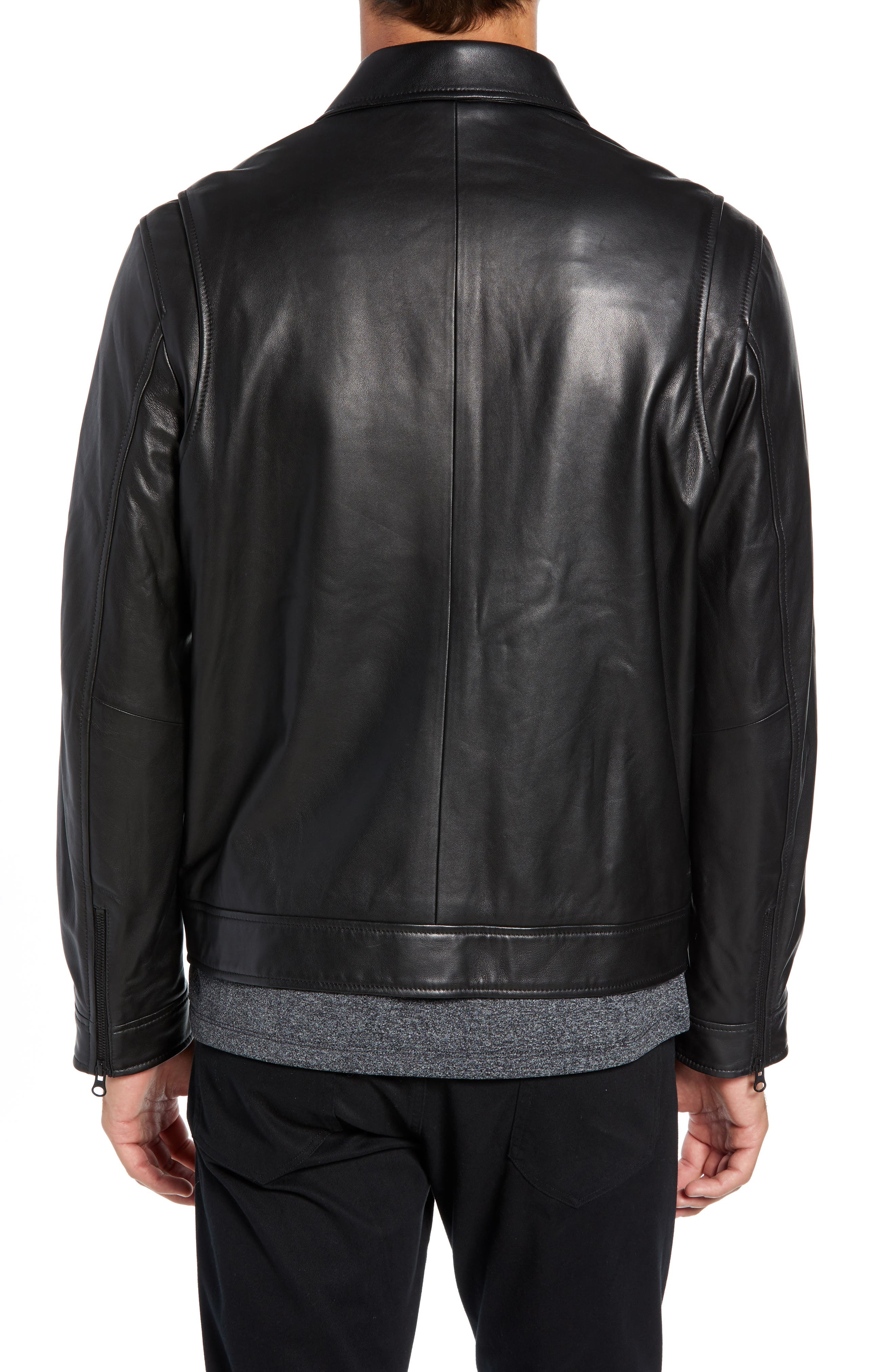 Leather Jacket,                             Alternate thumbnail 2, color,                             BLACK