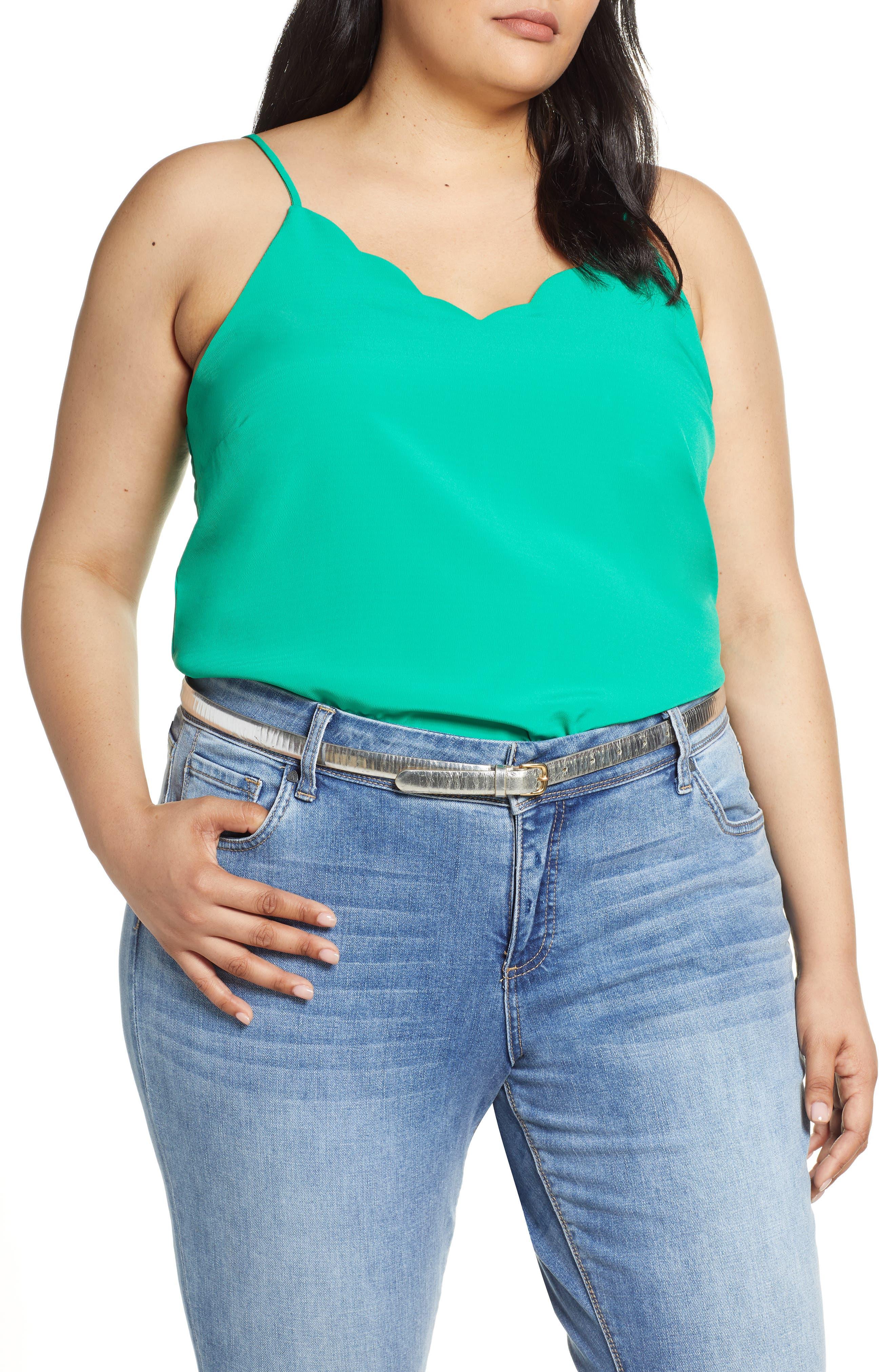 Plus Size Halogen Scallop Detail Camisole, Green