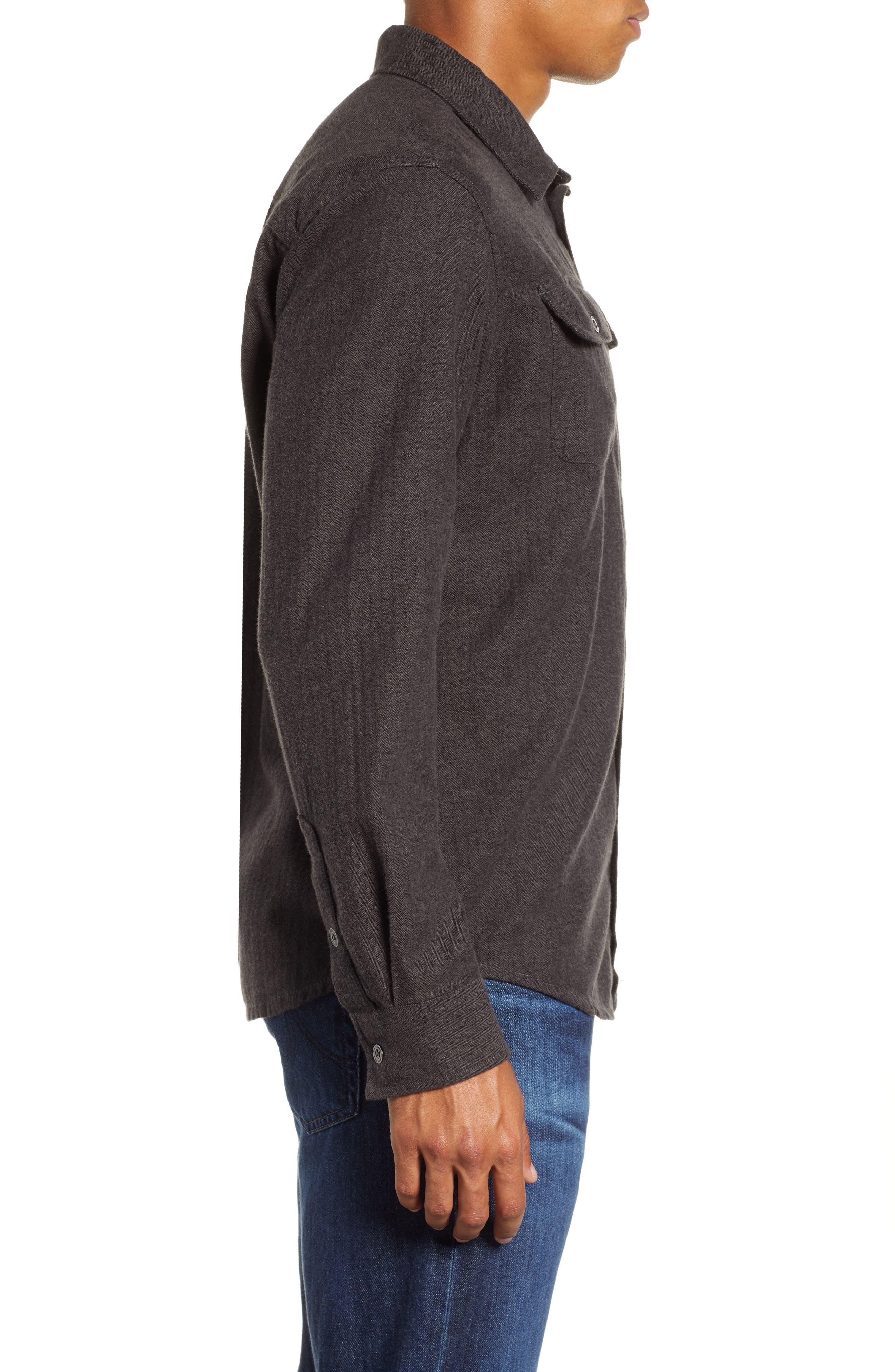 Lybek Regular Fit Herringbone Flannel Shirt,                             Alternate thumbnail 4, color,                             SCORCHED BROWN HERRINGBONE