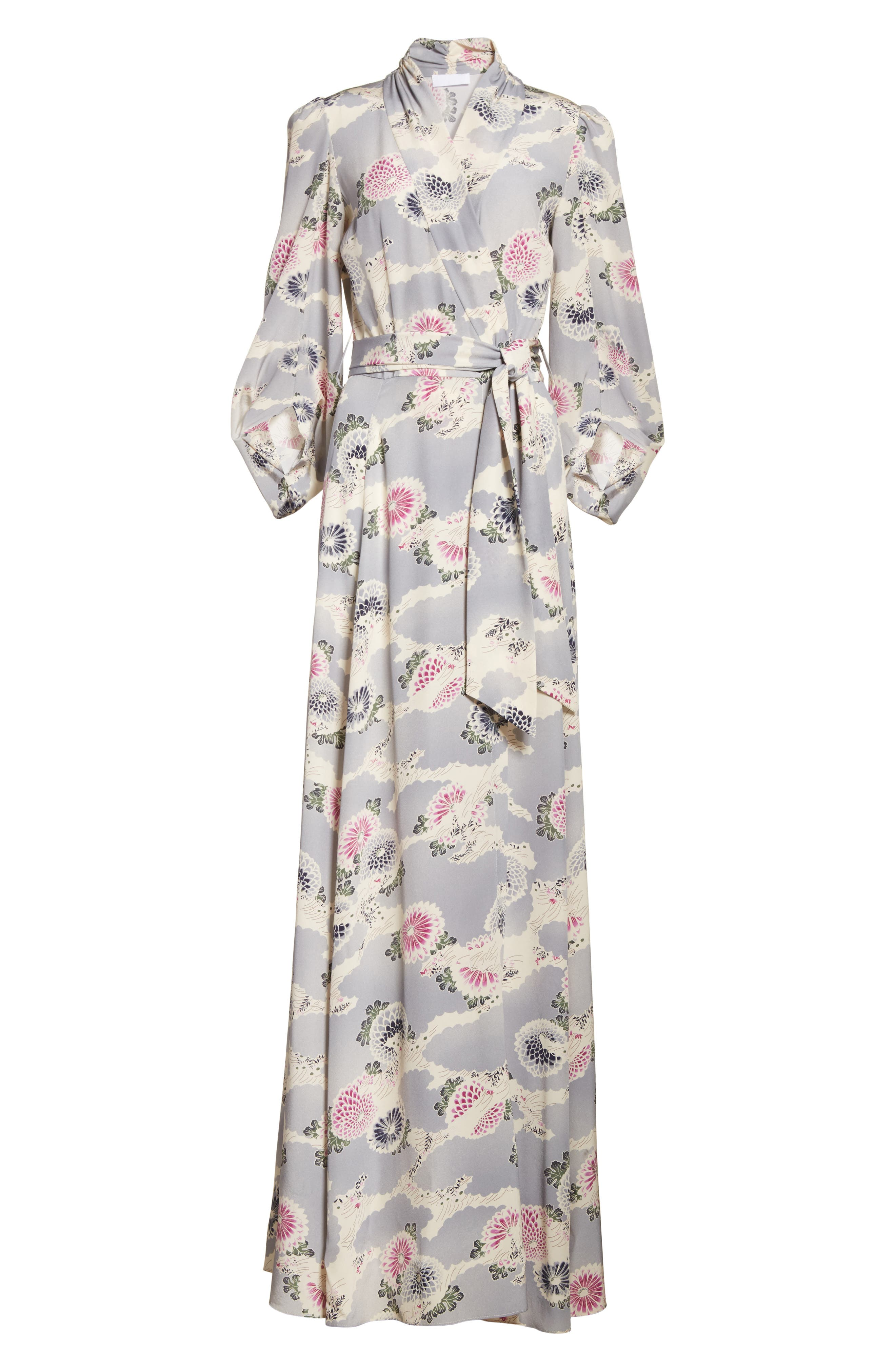 Floral Print Silk Crêpe de Chine Maxi Wrap Dress,                             Alternate thumbnail 6, color,                             020