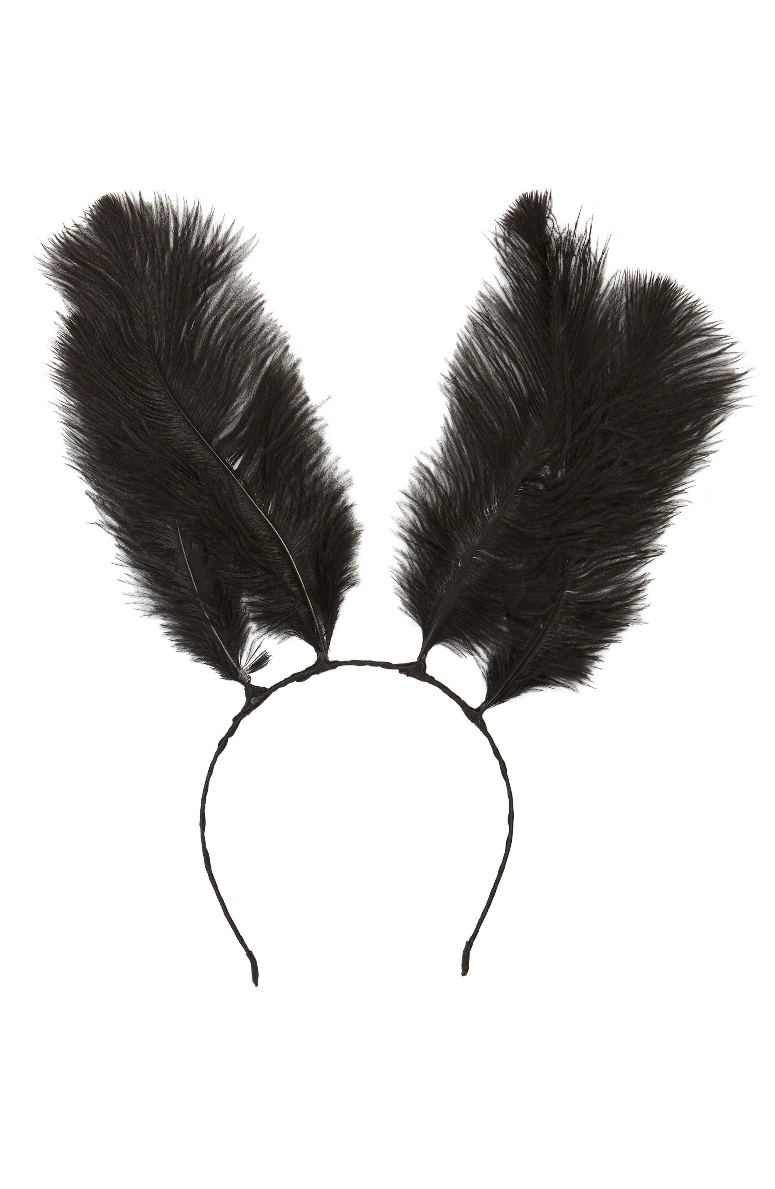 Feather Bunny Ears Headband,                             Main thumbnail 1, color,                             BLACK