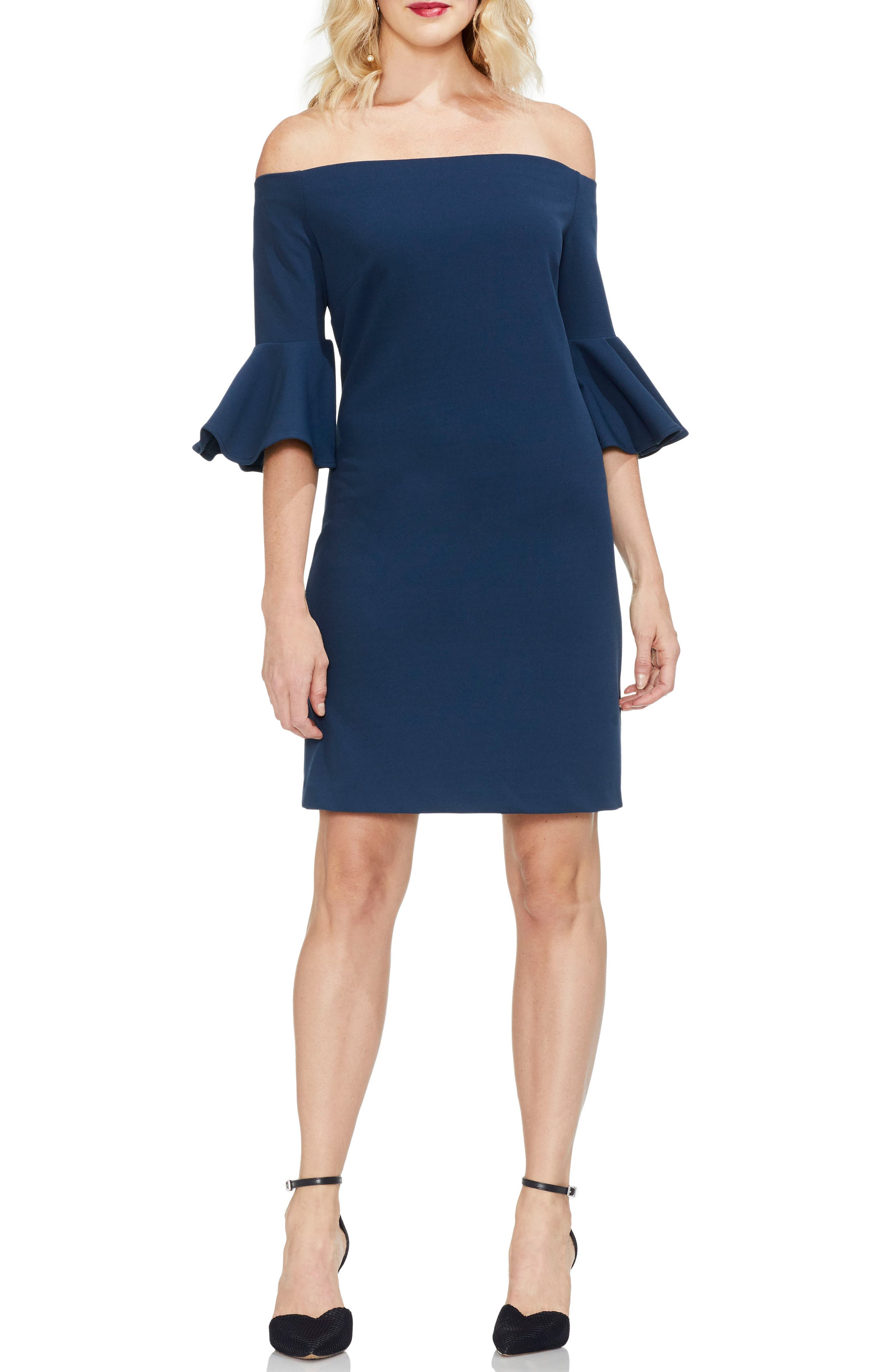 Vince Camuto Off The Shoulder Bell Sleeve Ponte Dress, Blue