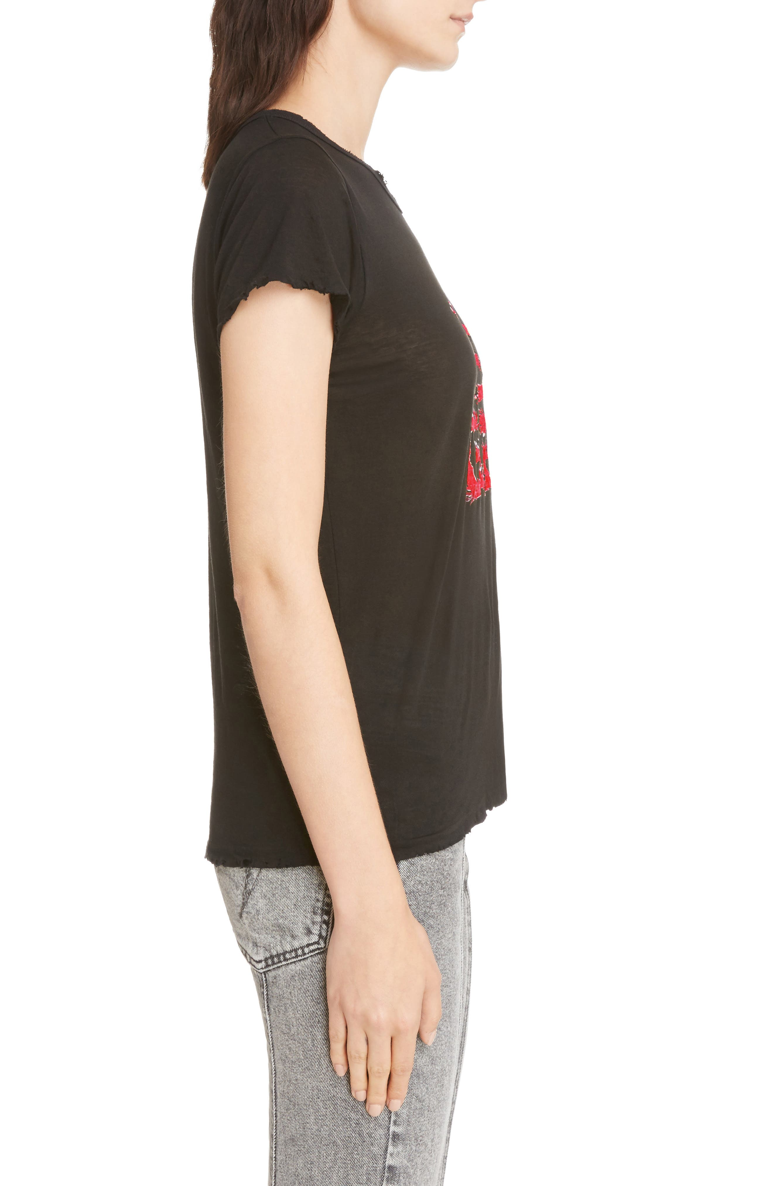 Fire Logo Distressed Tee,                             Alternate thumbnail 3, color,                             001
