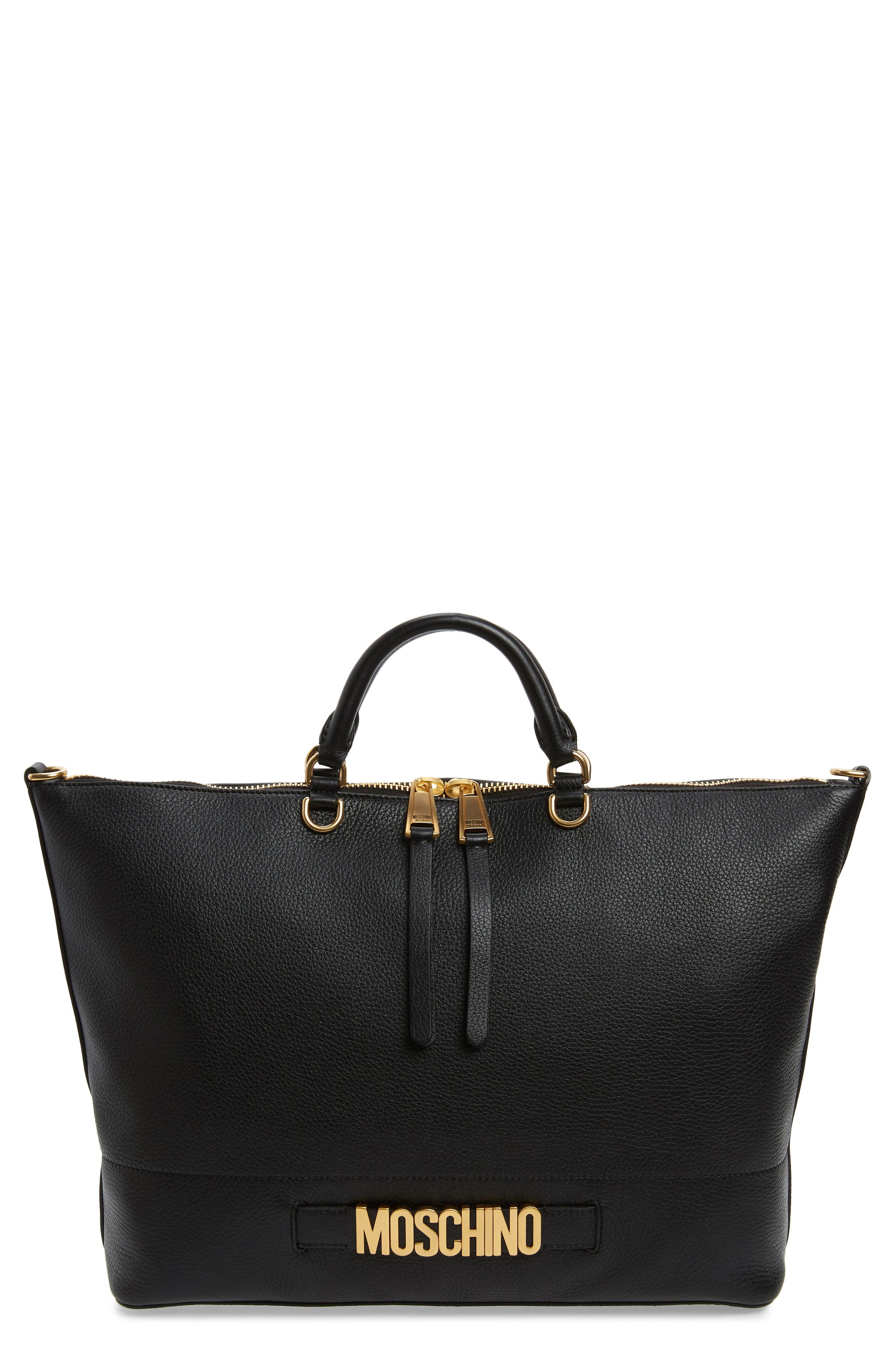 Logo Pebbled Leather Tote, Main, color, BLACK