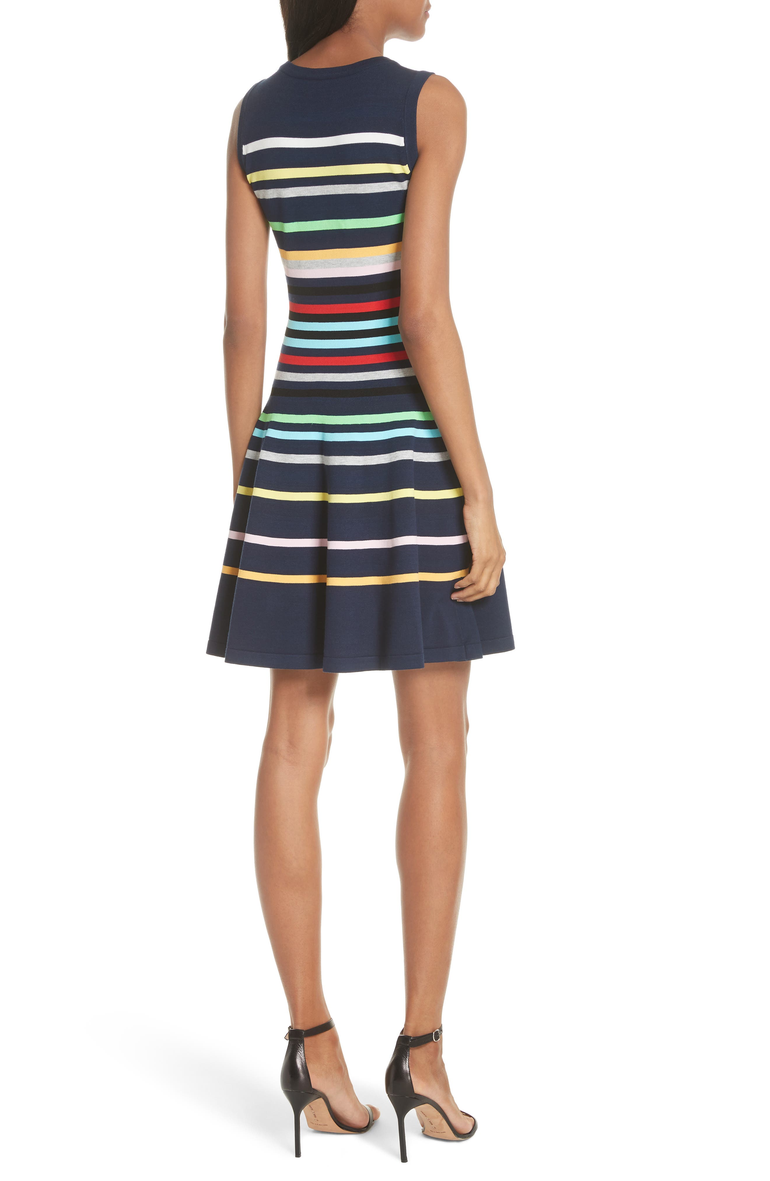 Rainbow Stripe Fit & Flare Dress,                             Alternate thumbnail 2, color,                             405