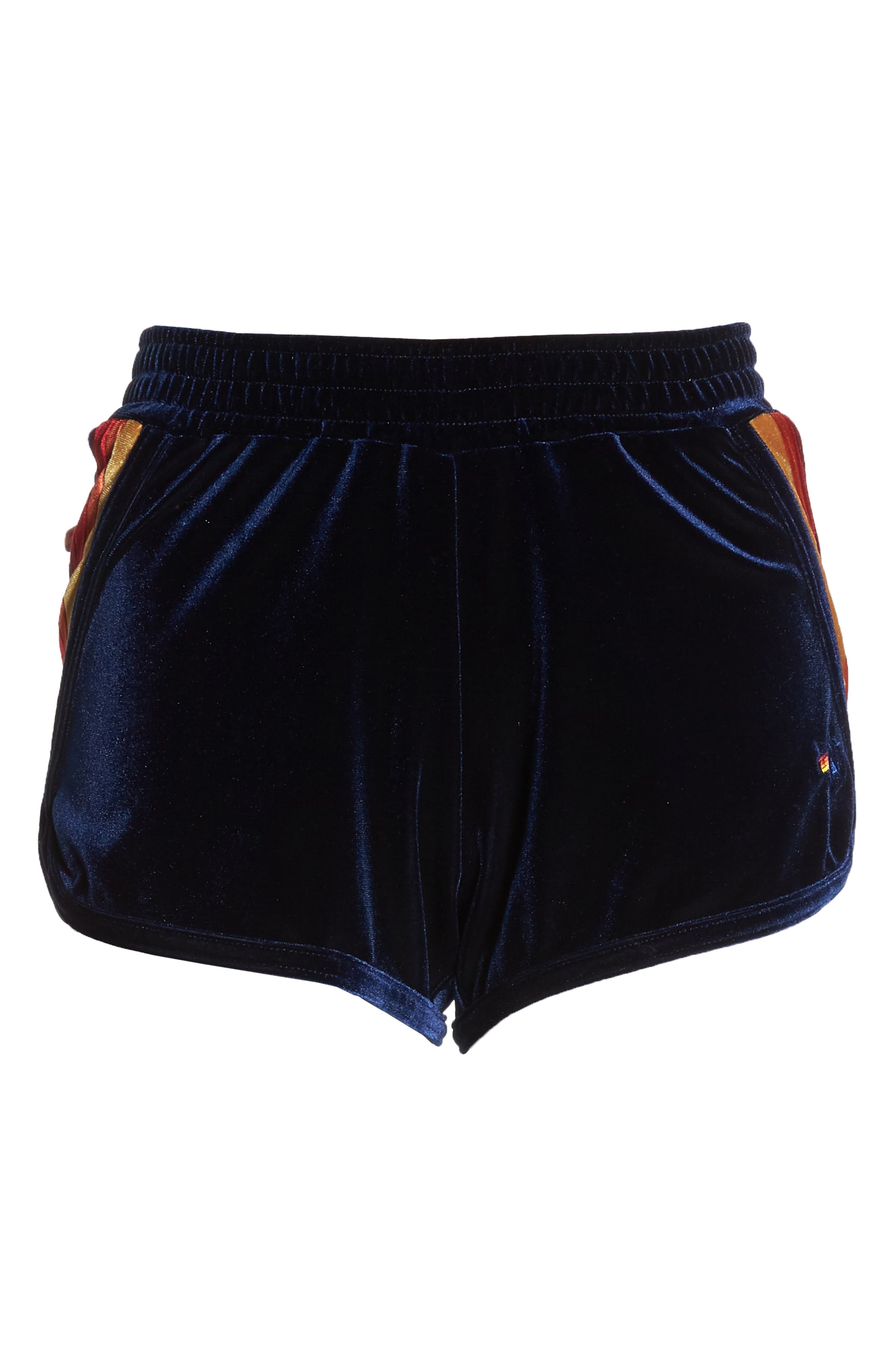 5-Stripe Velvet Running Shorts,                             Alternate thumbnail 6, color,                             400