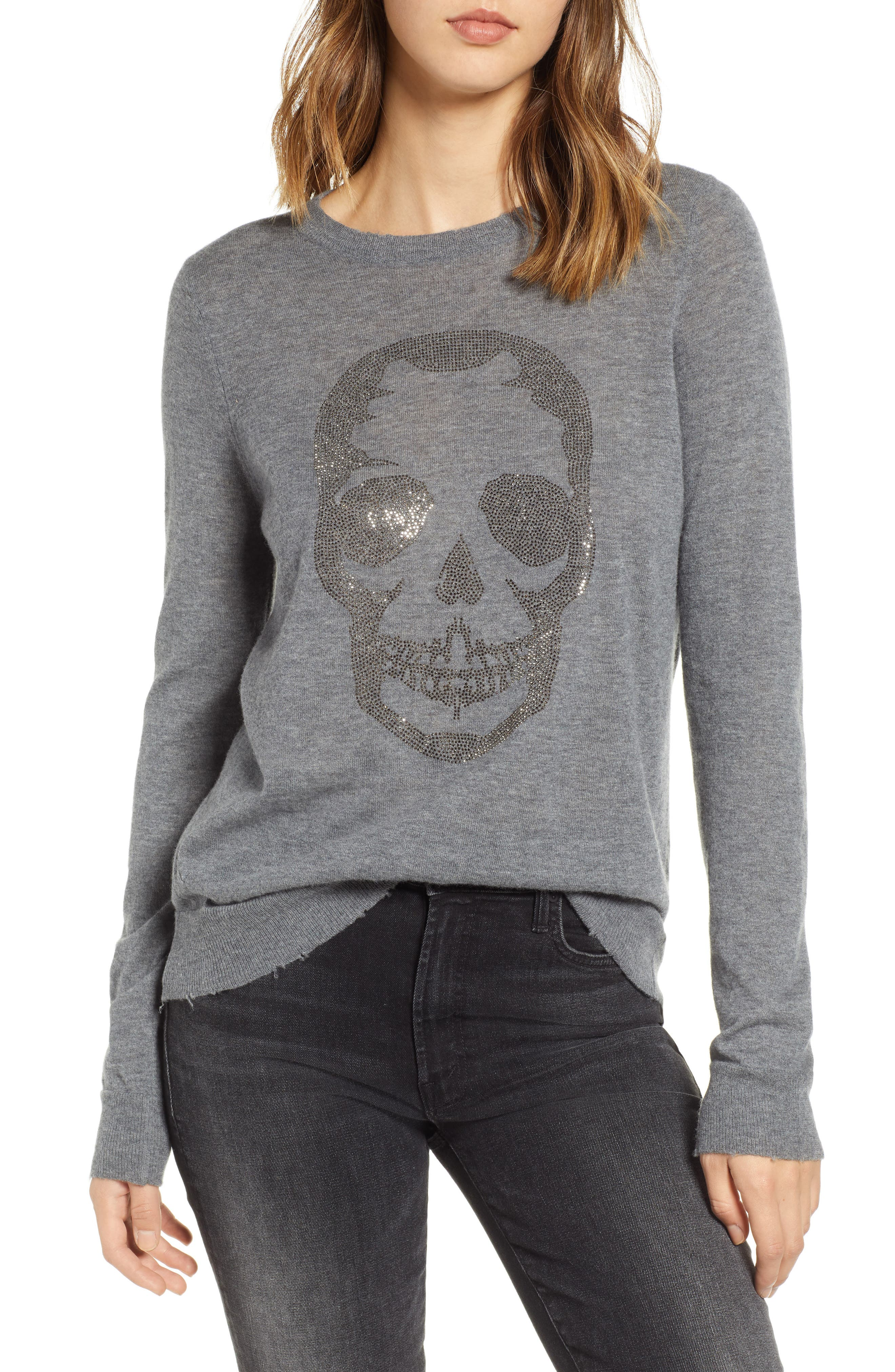 Miss Bis Skull Cashmere Tee,                             Main thumbnail 1, color,                             GRIS