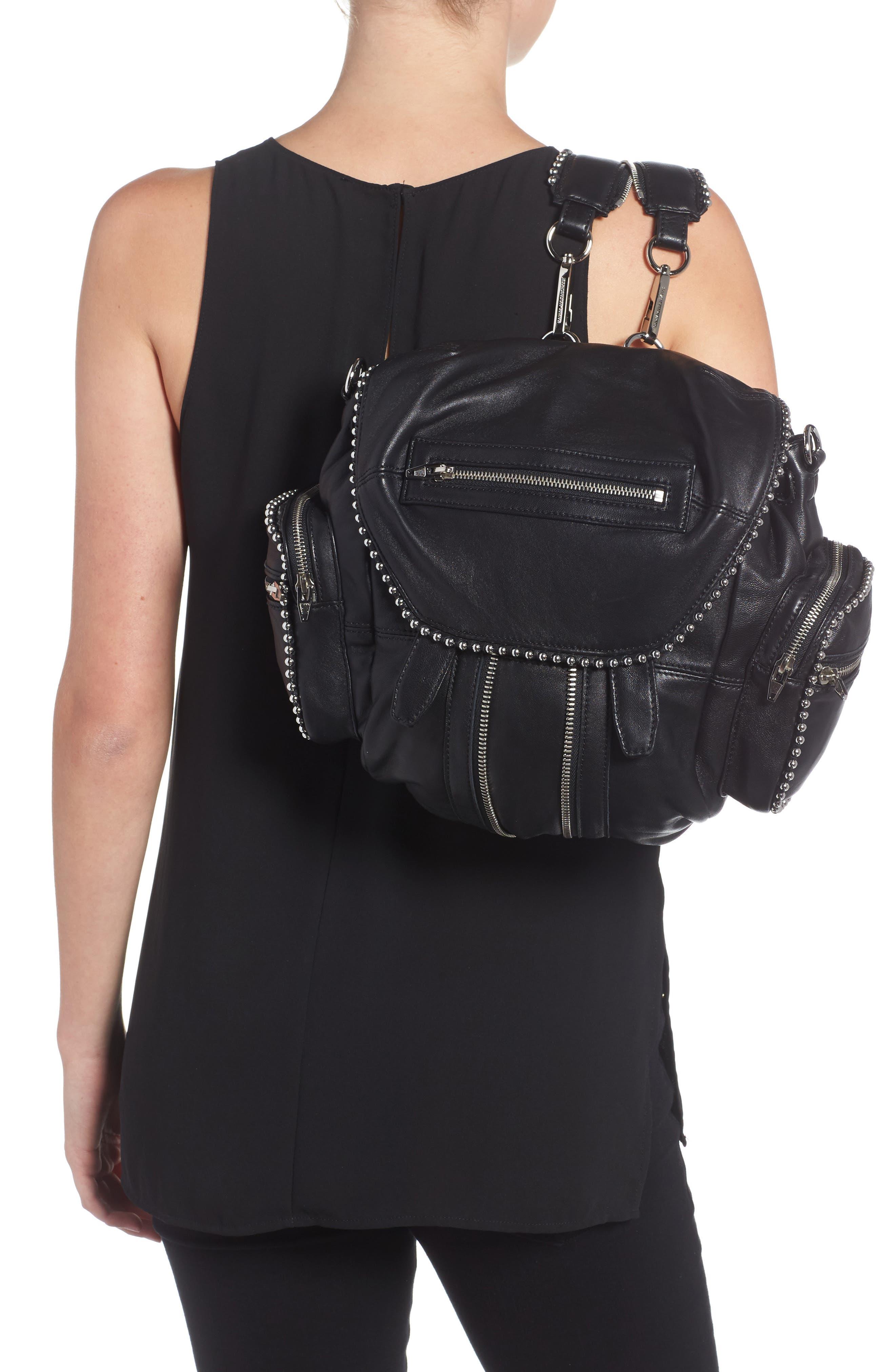 Mini Marti Ball Stud Leather Backpack,                             Alternate thumbnail 2, color,                             001