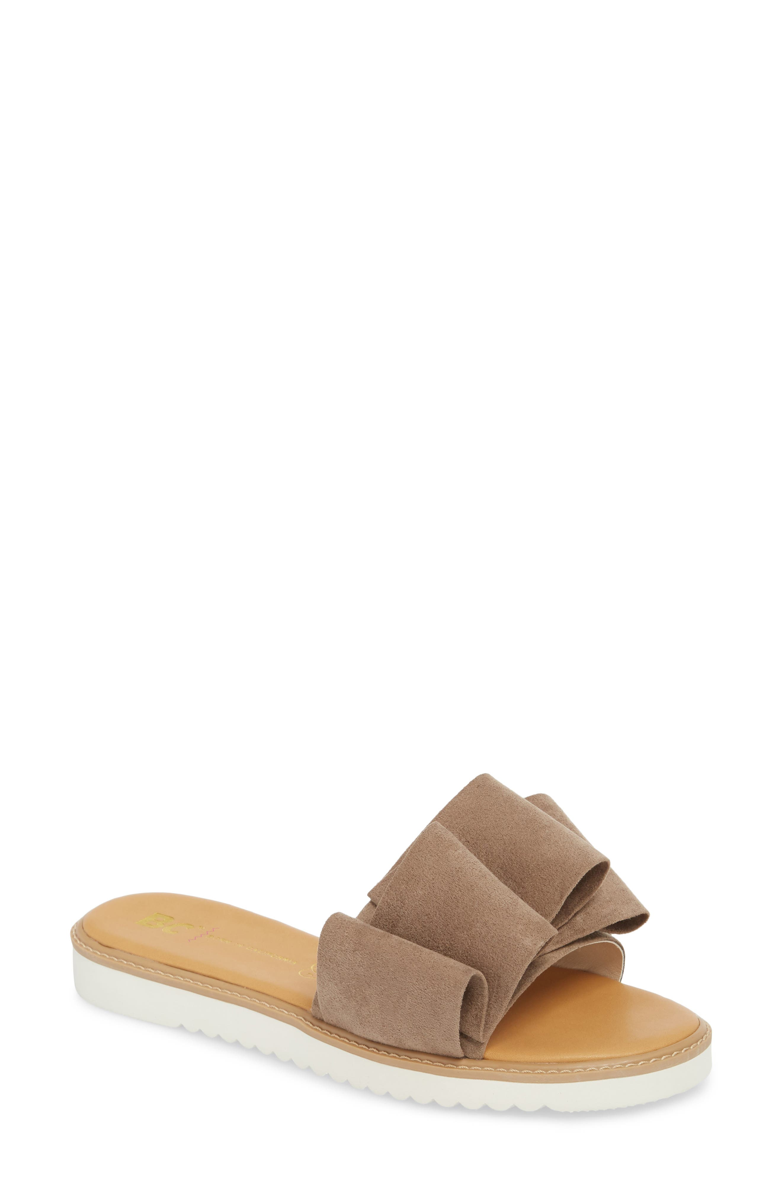 Fun for All Ages Pleated Sandal,                             Main thumbnail 1, color,                             TAUPE SUEDE