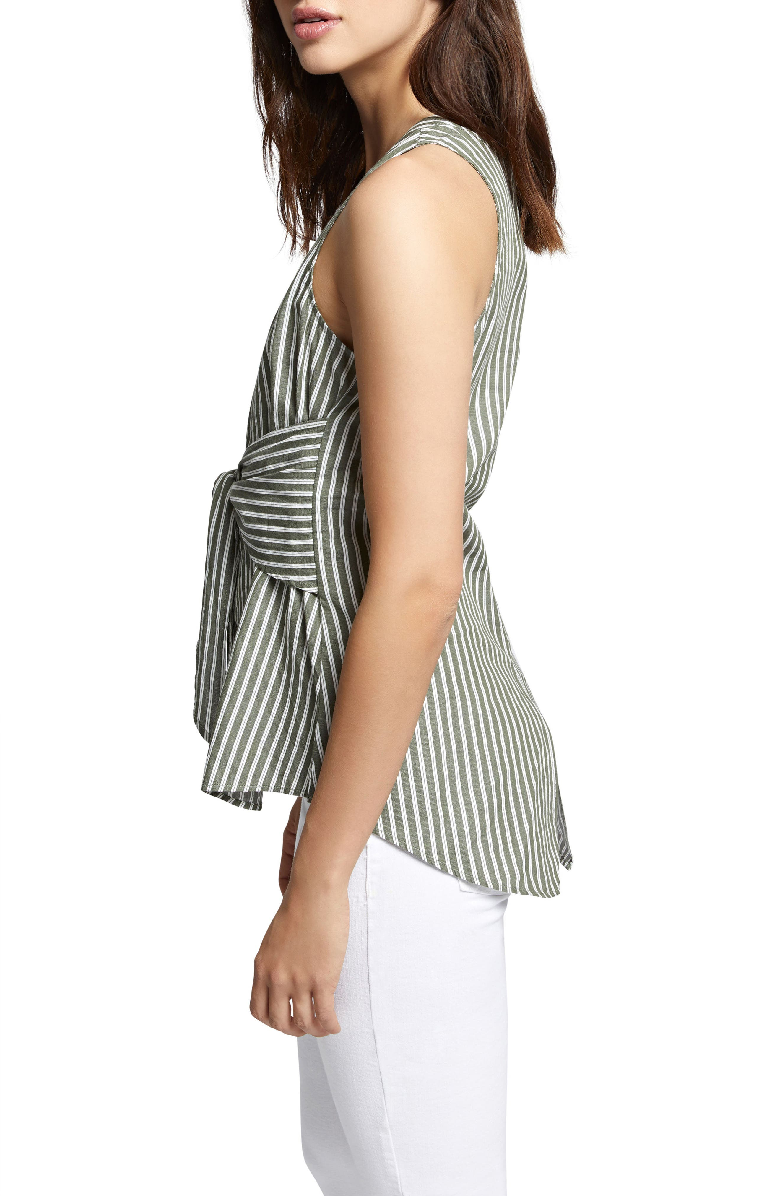Cara Tie Front Stripe Shell,                             Alternate thumbnail 3, color,                             312
