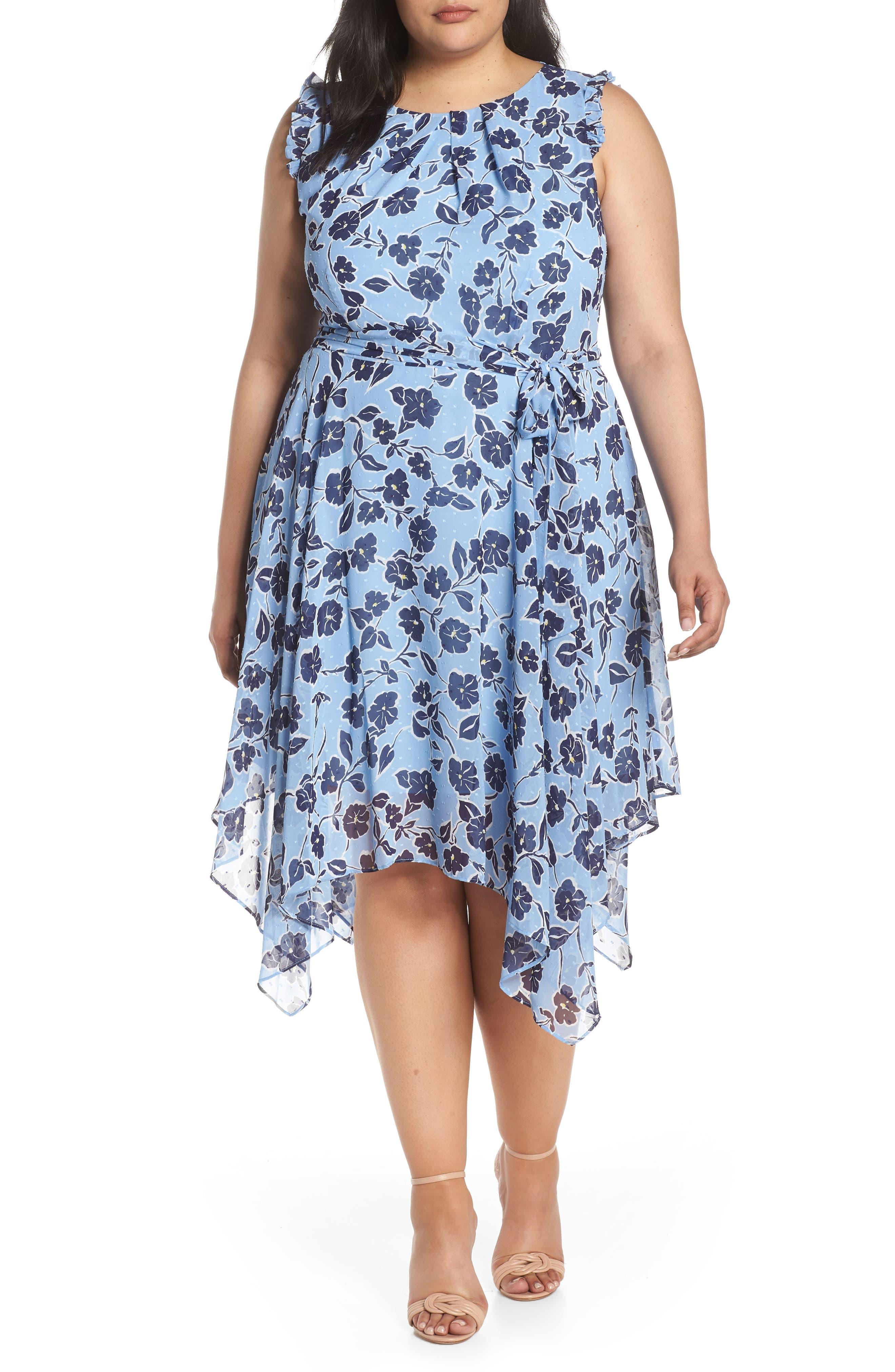 Plus Size Eliza J Floral Handkerchief Hem Dress, Blue