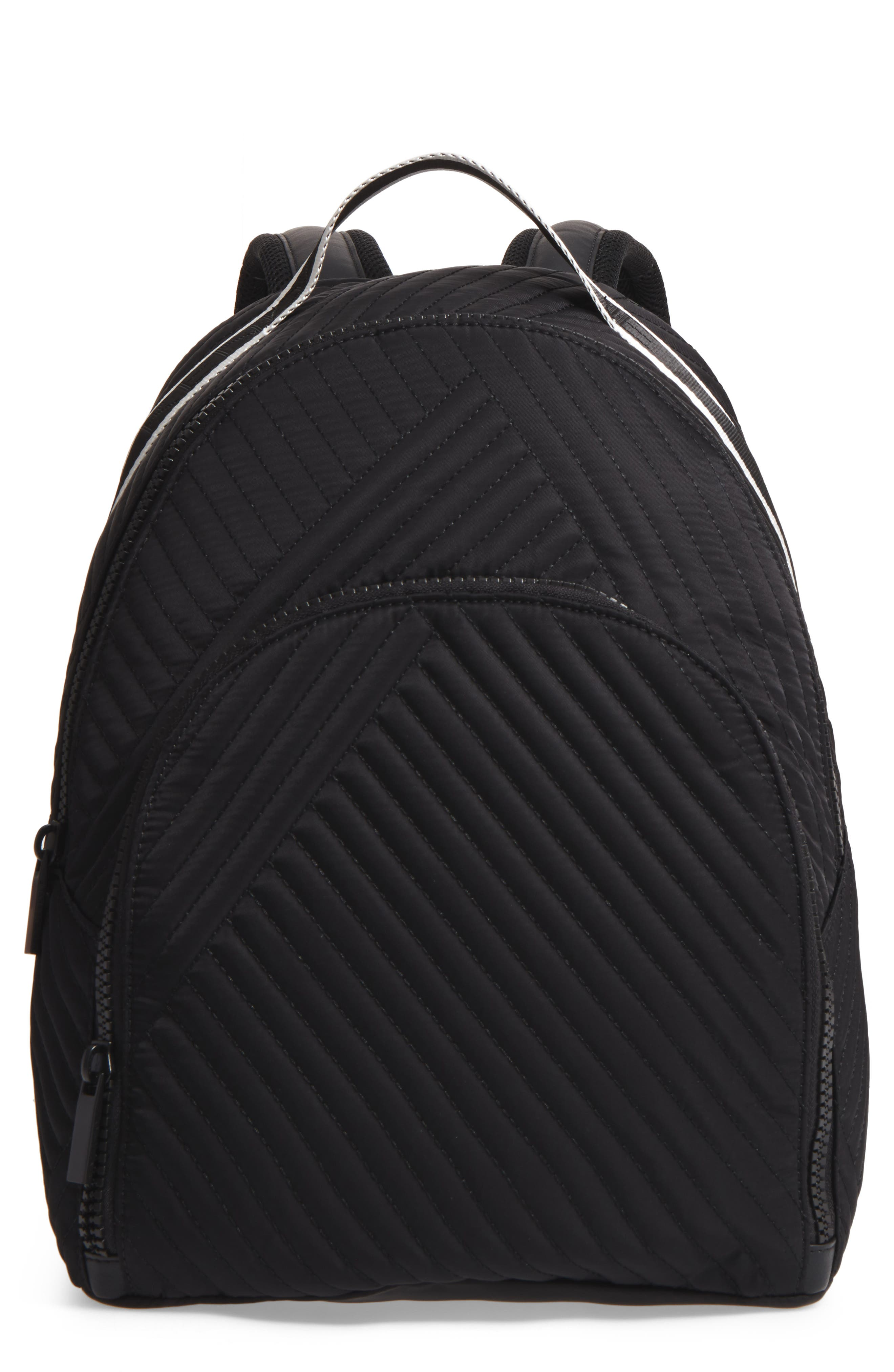 Jo Quilted Nylon Backpack,                         Main,                         color, 001