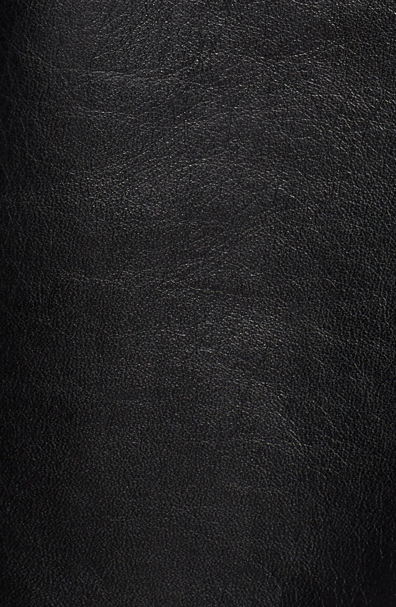 ANDREW MARC,                             Vaughn Shirt Collar Leather Bomber Jacket,                             Alternate thumbnail 6, color,                             BLACK