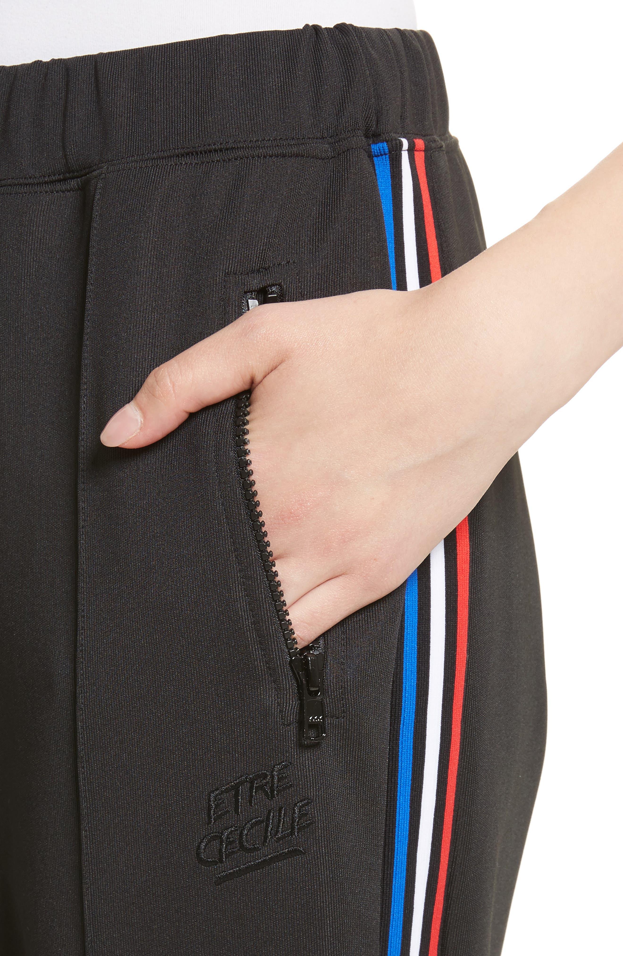 être cécile Stripe Crop Track Pants,                             Alternate thumbnail 4, color,                             001