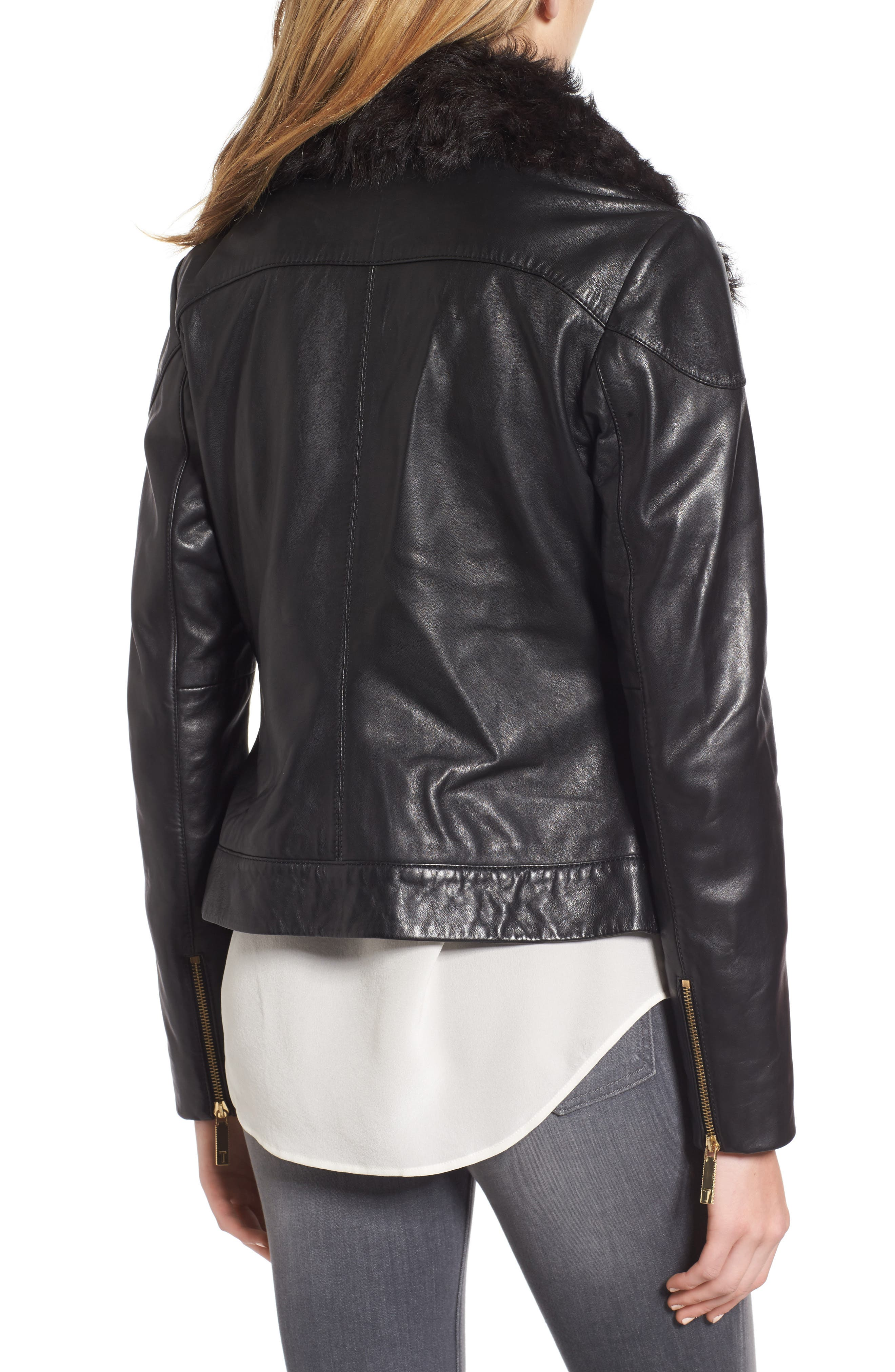Leather Jacket with Detachable Genuine Shearling,                             Alternate thumbnail 2, color,                             001