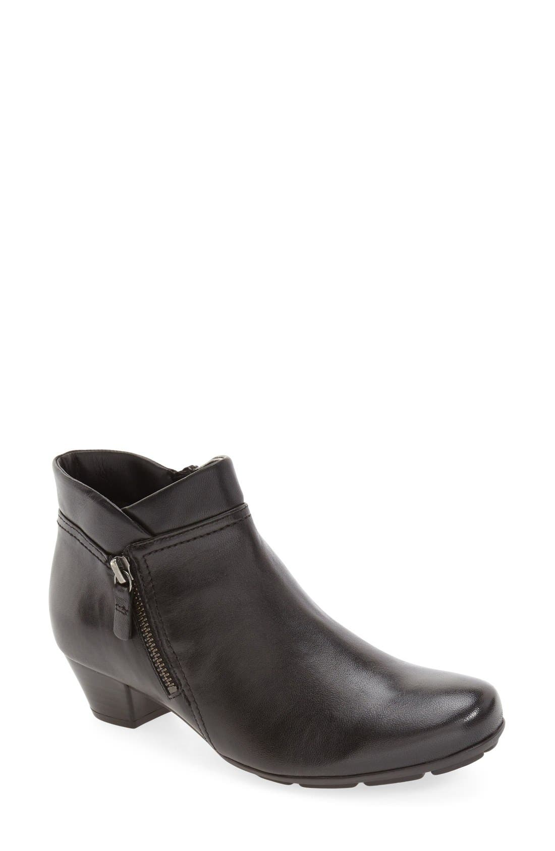 Ankle Bootie,                         Main,                         color, BLACK LEATHER
