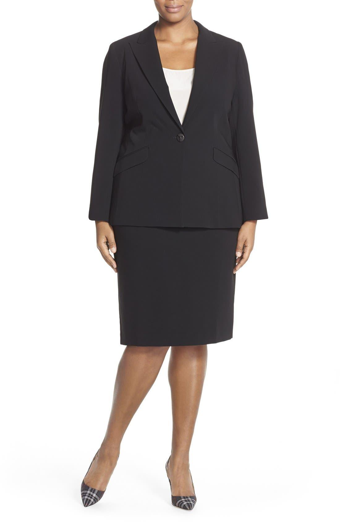 LOUBEN,                             Suit Pencil Skirt,                             Alternate thumbnail 6, color,                             BLACK