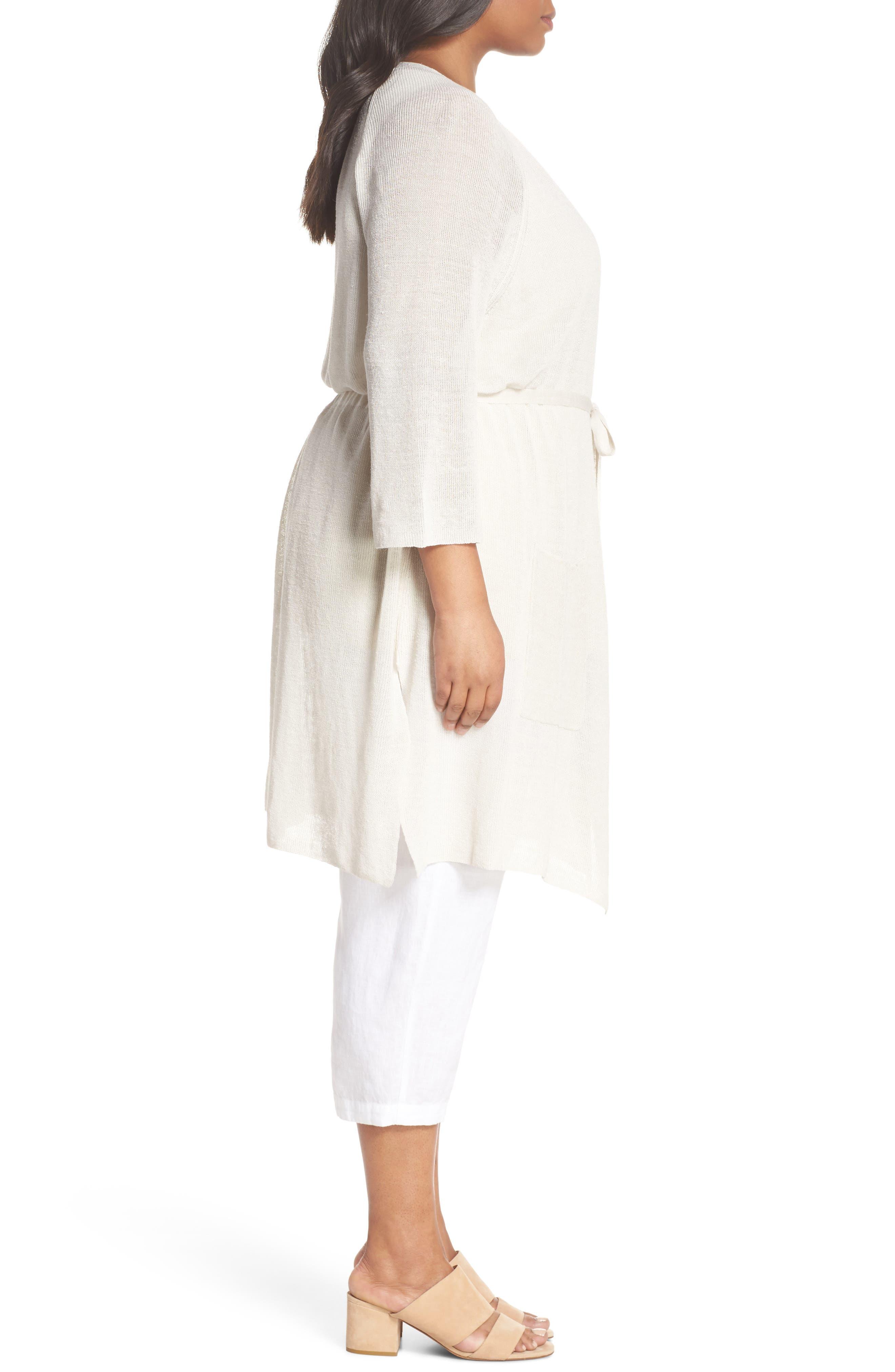 Long Organic Linen Blend Kimono Cardigan,                             Alternate thumbnail 9, color,