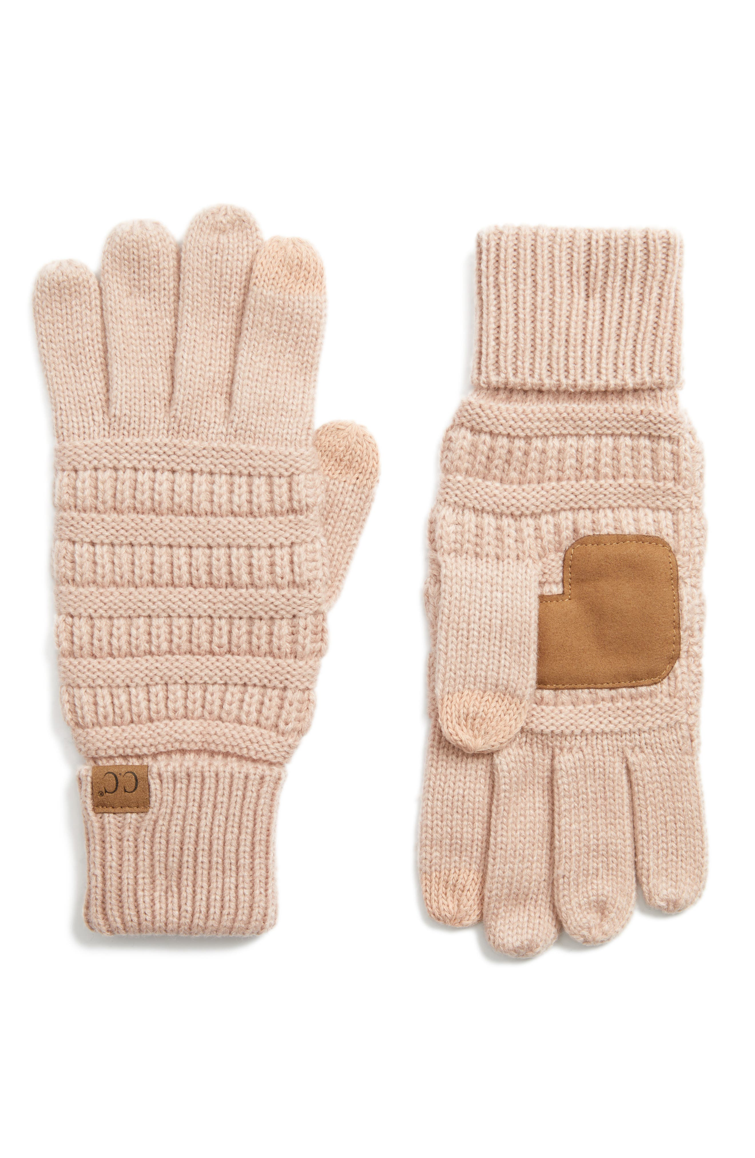 Rib Knit Tech Gloves,                             Main thumbnail 7, color,