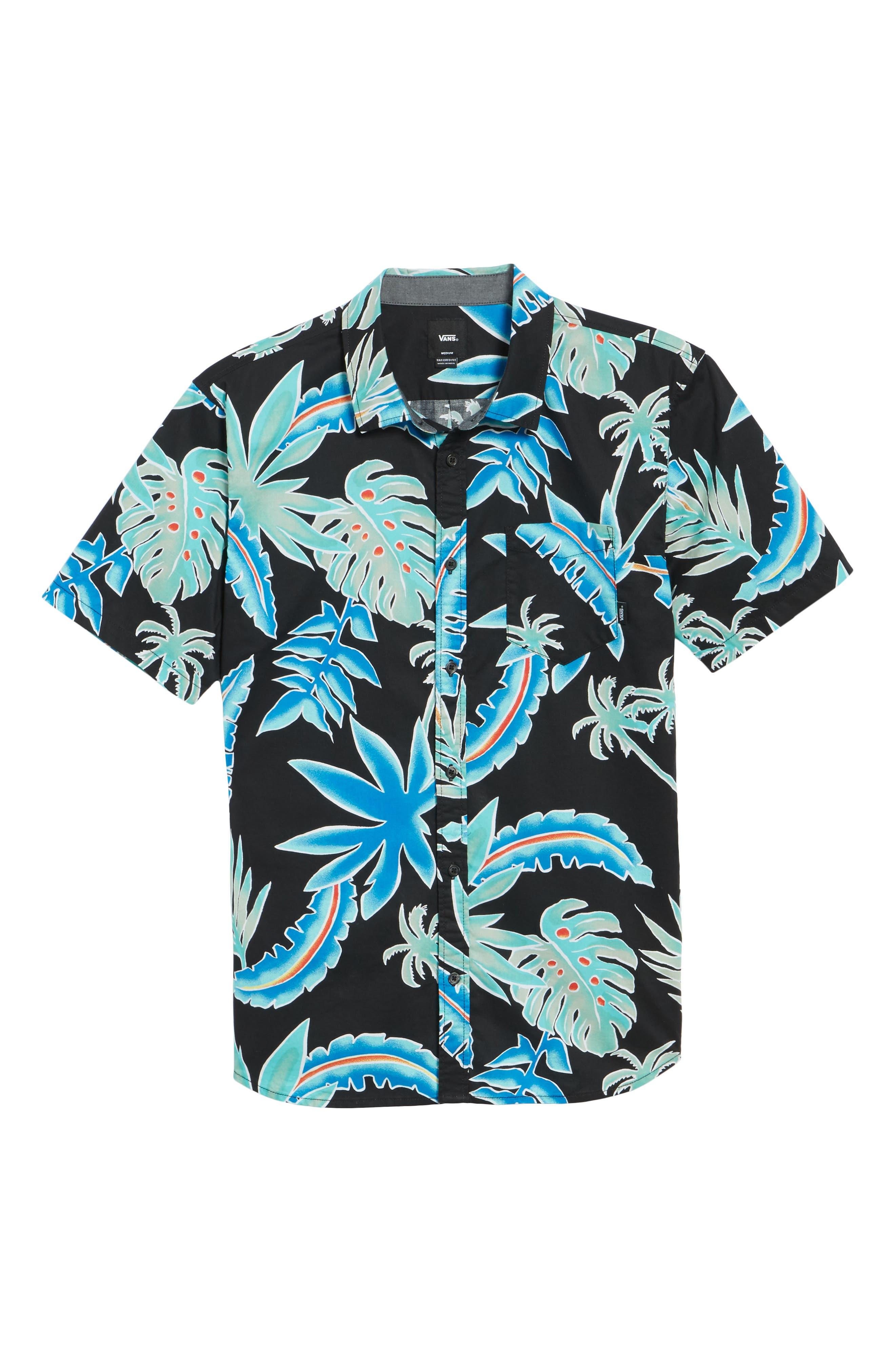 Pit Stop Woven Shirt,                             Alternate thumbnail 6, color,                             BLACK PIT STOP FLORAL