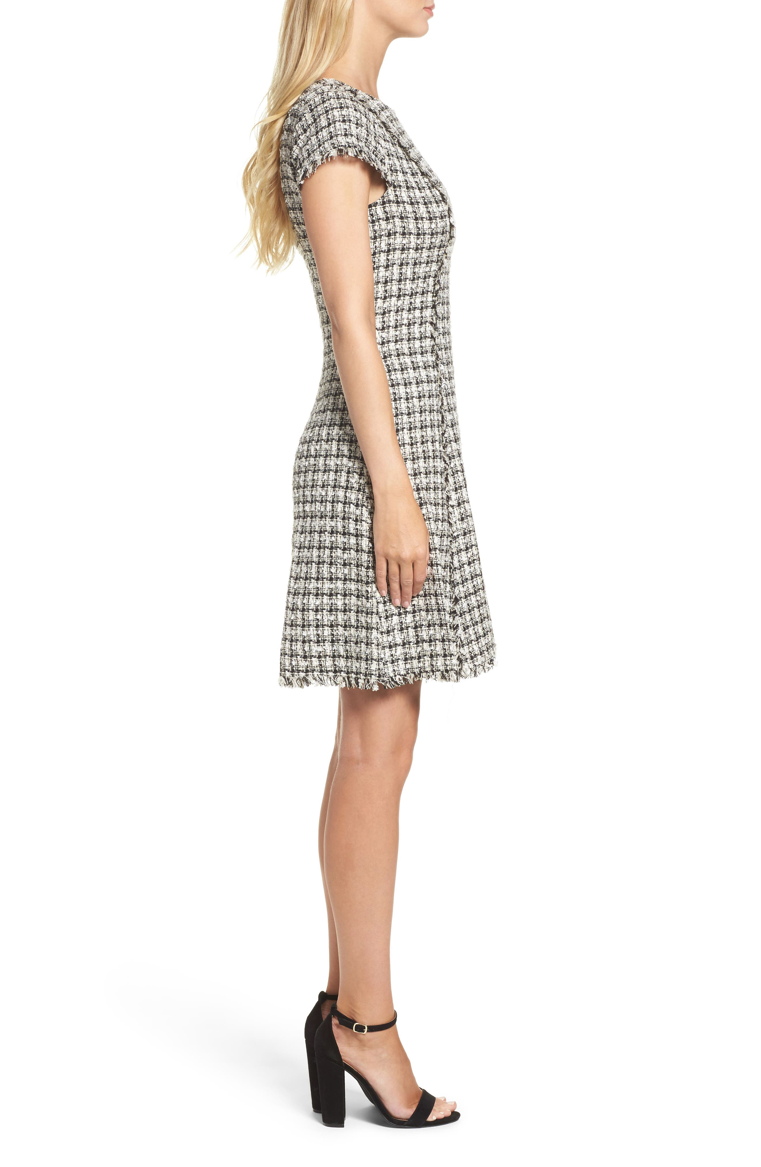 Houndstooth Fit & Flare Dress,                             Alternate thumbnail 3, color,                             901