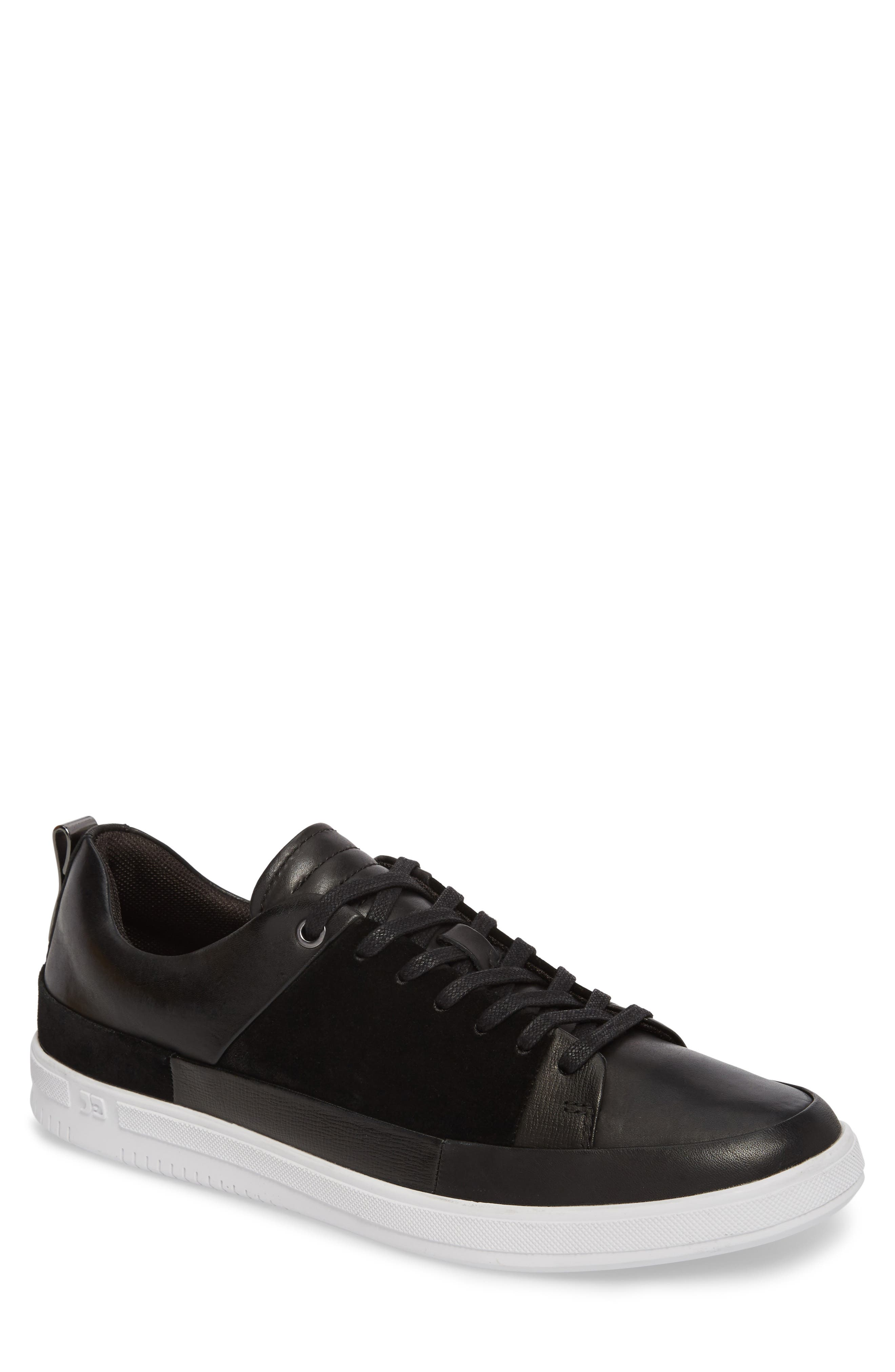 Slick Sneaker,                         Main,                         color, BLACK LEATHER/ SUEDE
