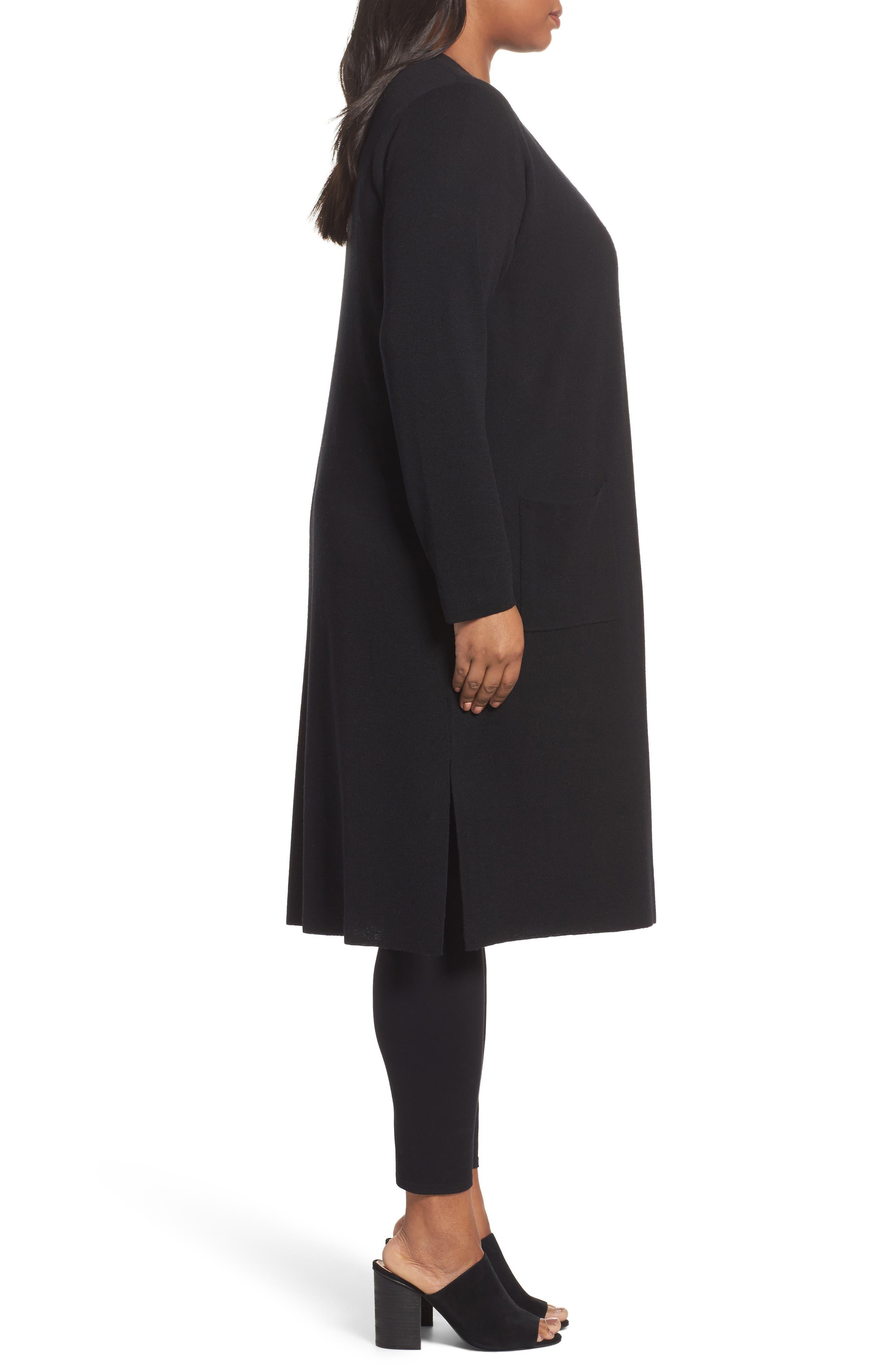 Long Merino Wool Cardigan,                             Alternate thumbnail 3, color,                             001
