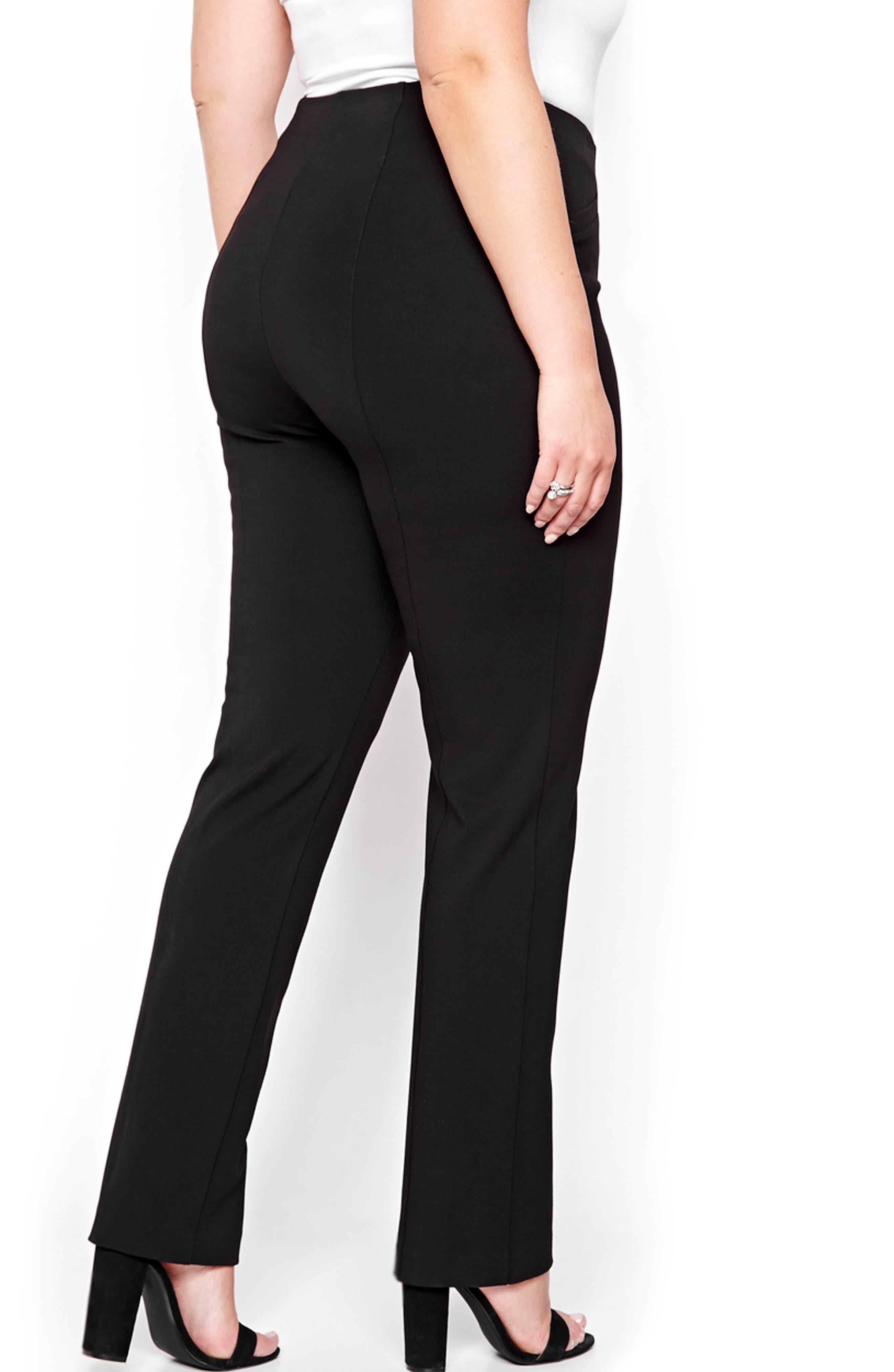 Taylor Straight Leg Ponte Pants,                             Alternate thumbnail 2, color,                             001