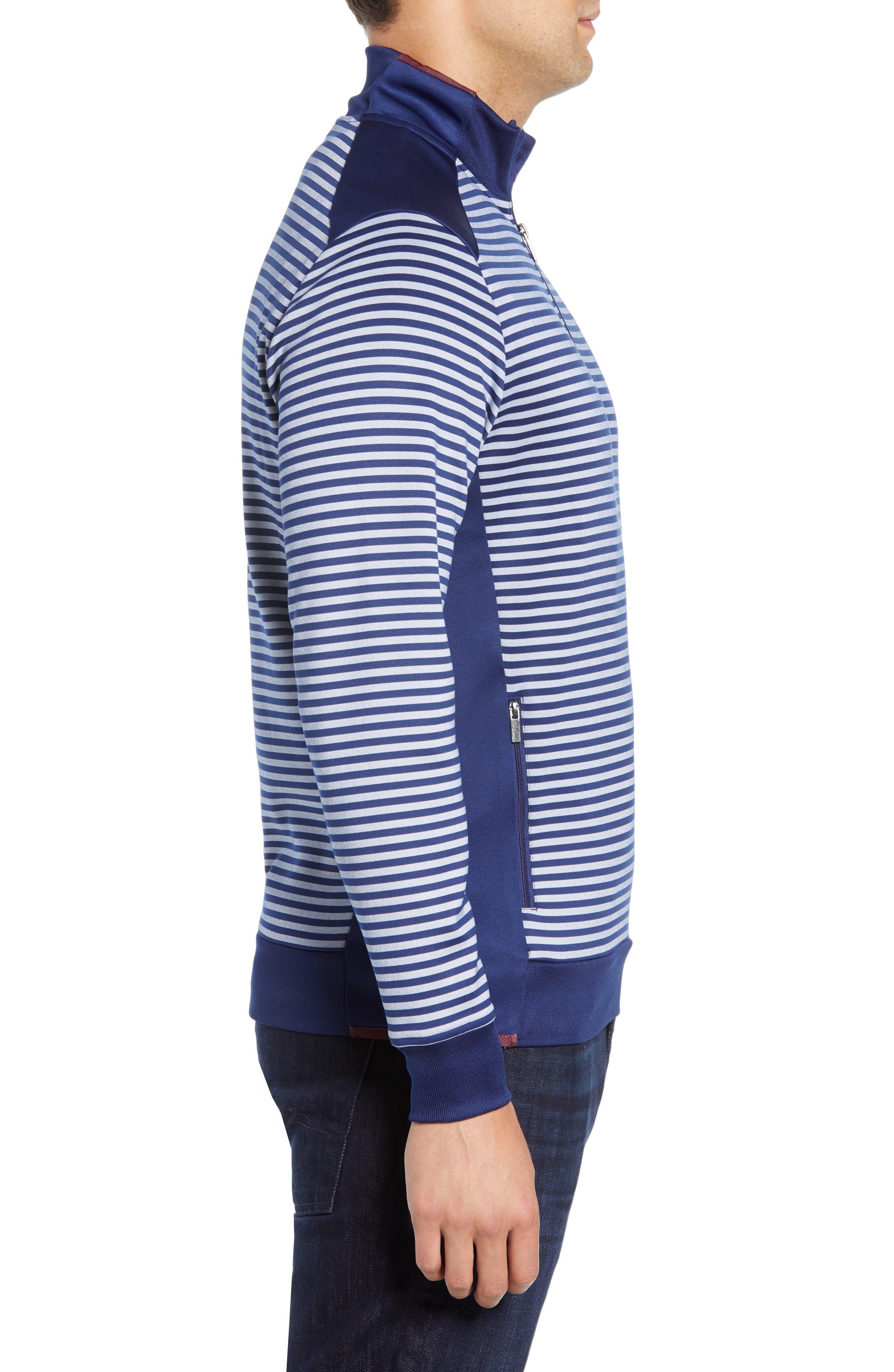 Regular Fit Stripe Quarter Zip Pullover,                             Alternate thumbnail 3, color,                             NAVY