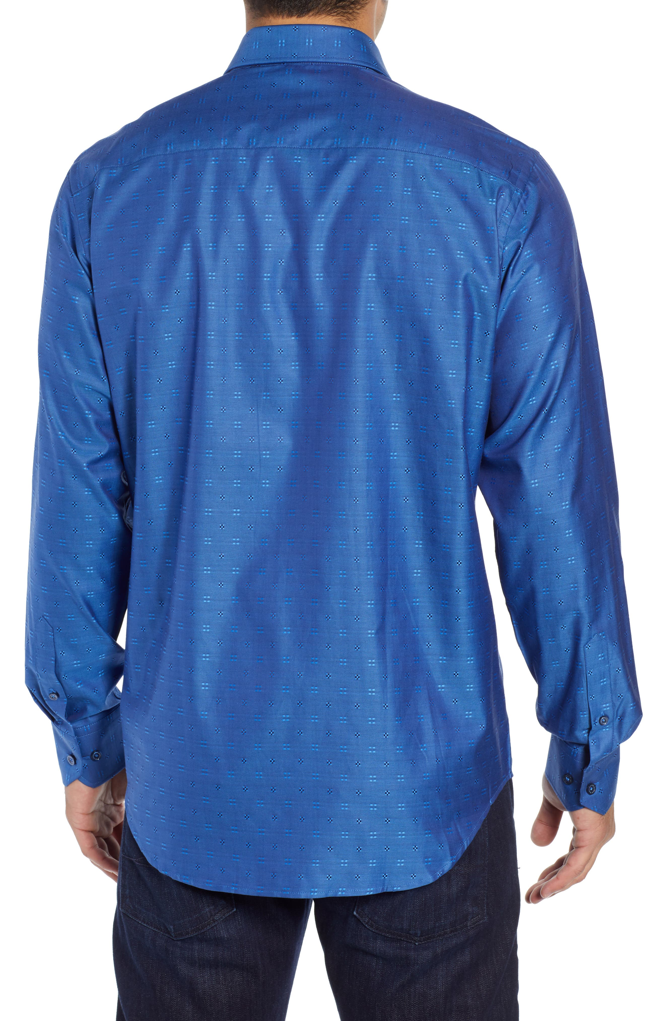 BUGATCHI,                             Classic Fit Embroidered Sport Shirt,                             Alternate thumbnail 3, color,                             CLASSIC BLUE
