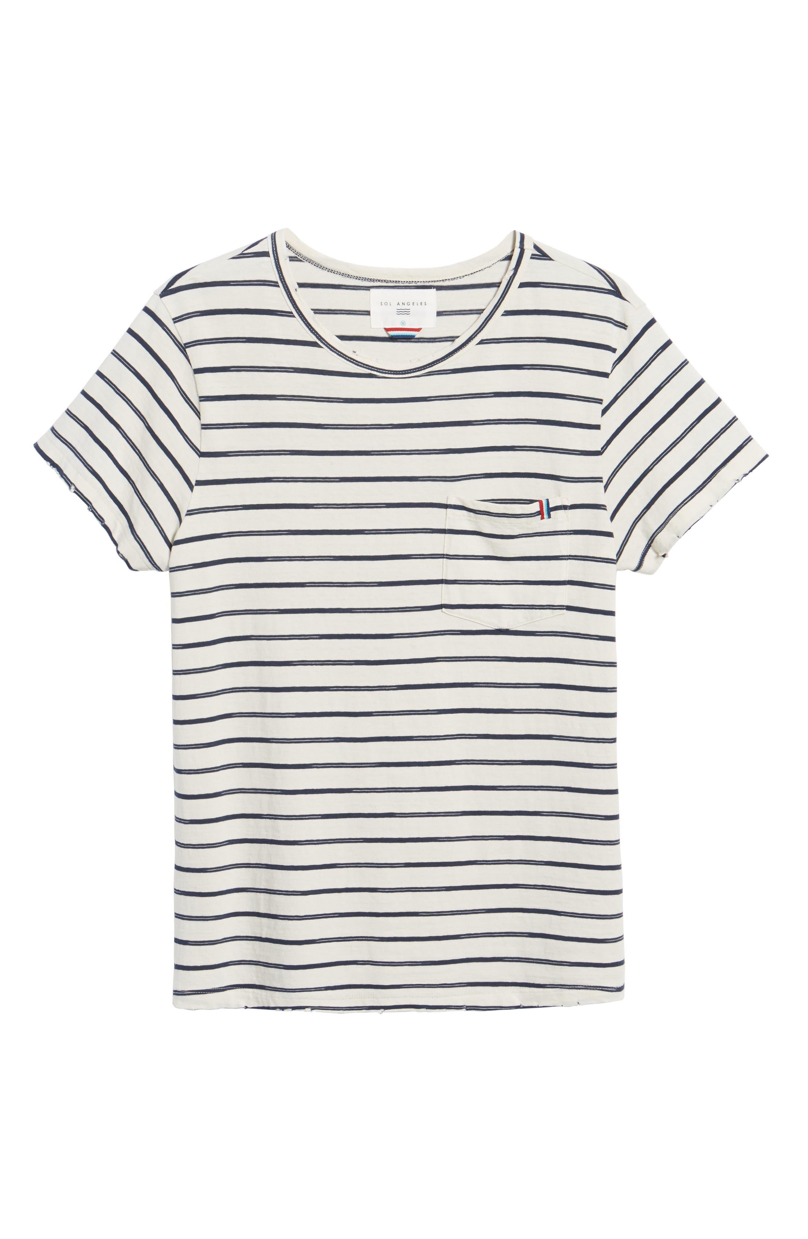 Vintage Stripe Pocket T-Shirt,                             Alternate thumbnail 6, color,                             101