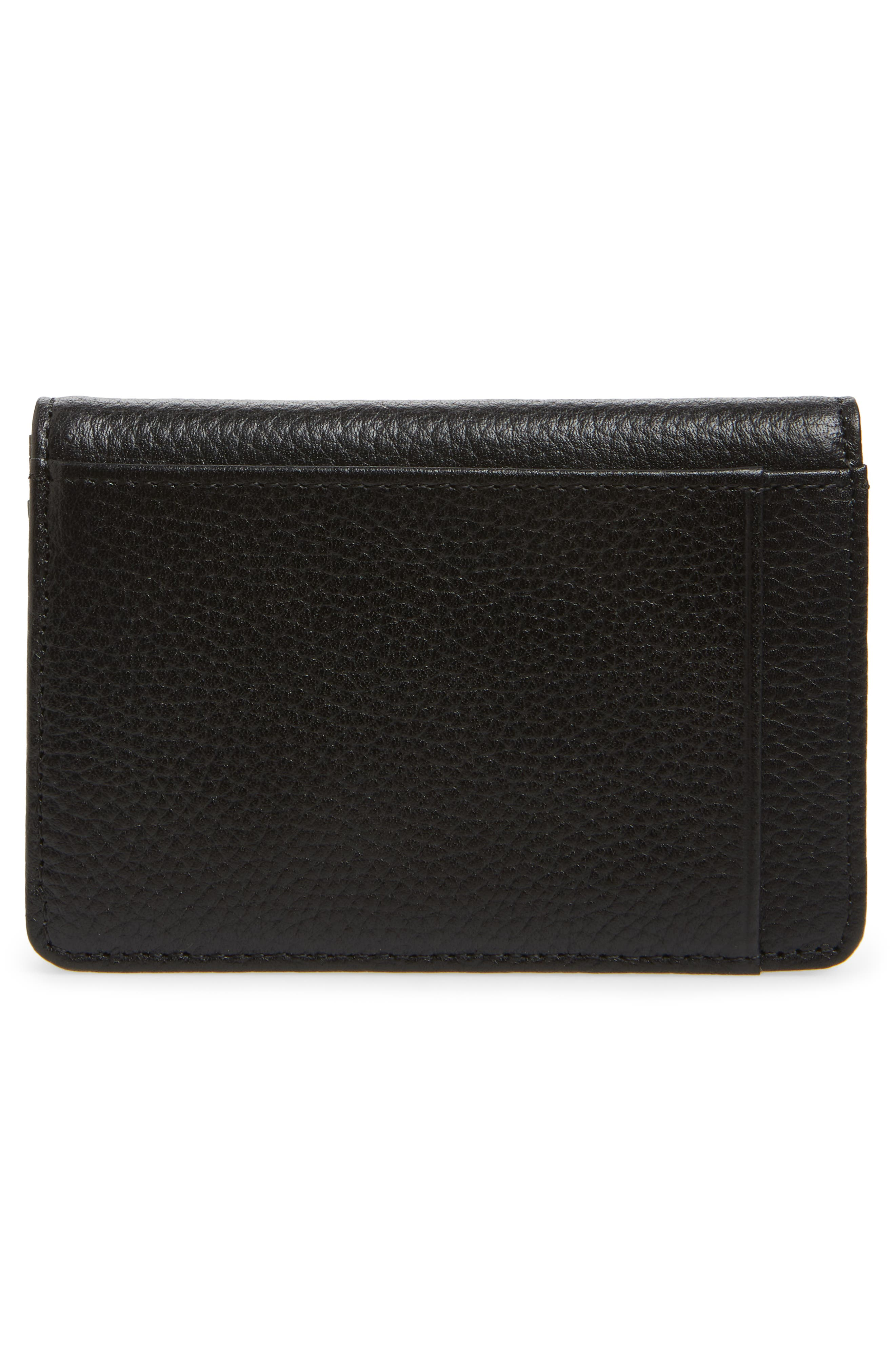 Ruby Pebbled Leather Cardholder,                             Alternate thumbnail 3, color,                             BLACK