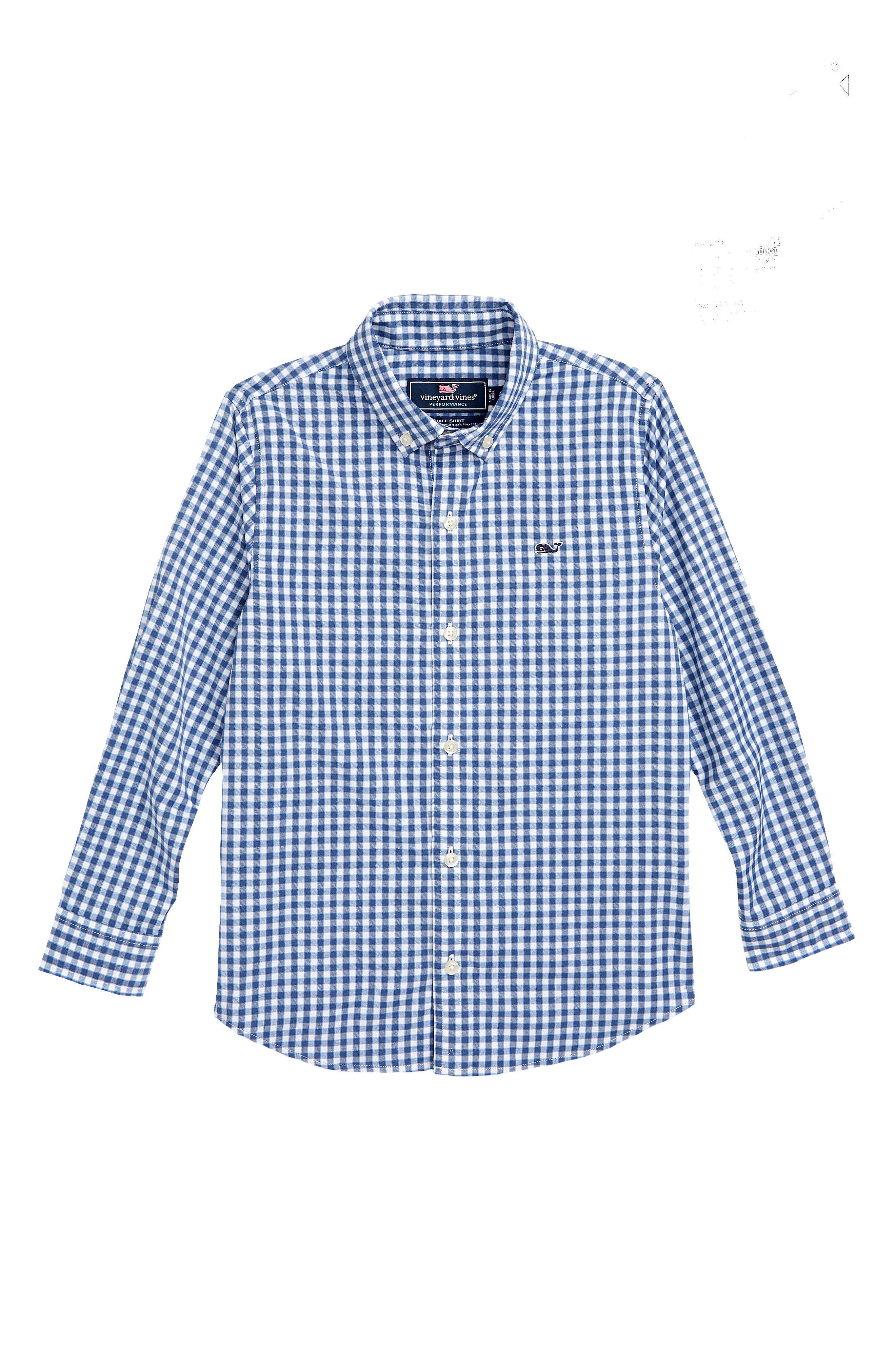 Boys Vineyard Vines Gingham Whale Button Down Shirt Size XL (18)  Blue