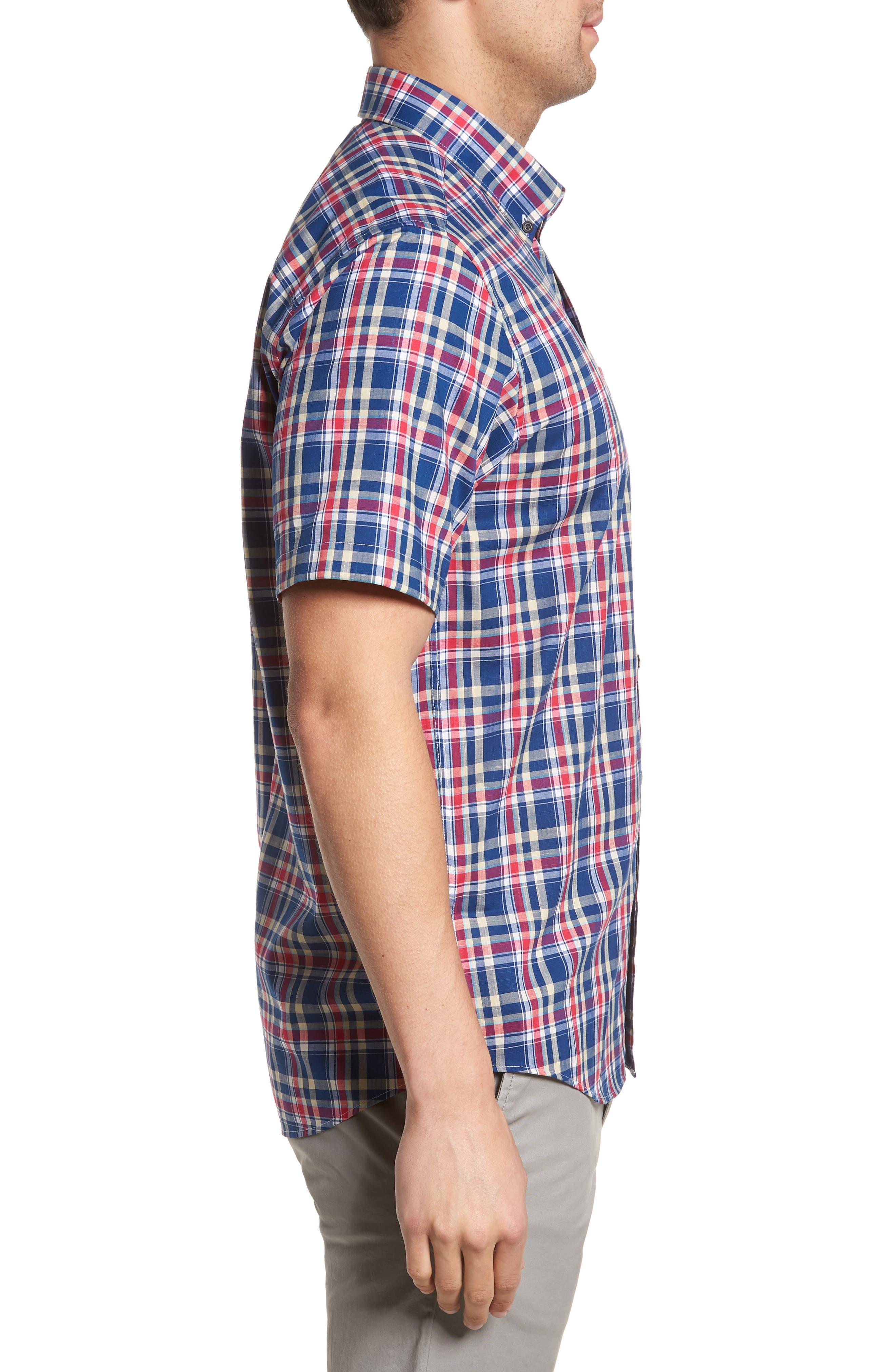 Sebastian Classic Fit Non-Iron Plaid Sport Shirt,                             Alternate thumbnail 6, color,