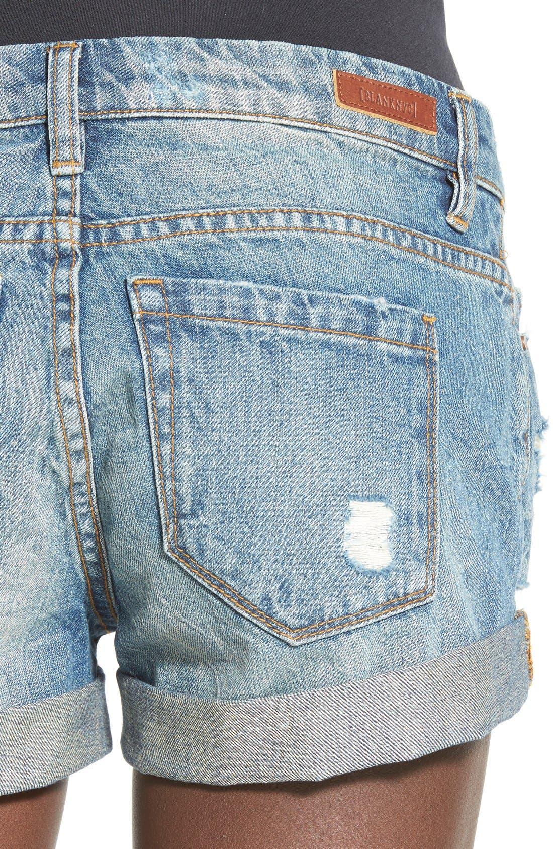 Cuffed Distressed Denim Shorts,                             Alternate thumbnail 3, color,                             400