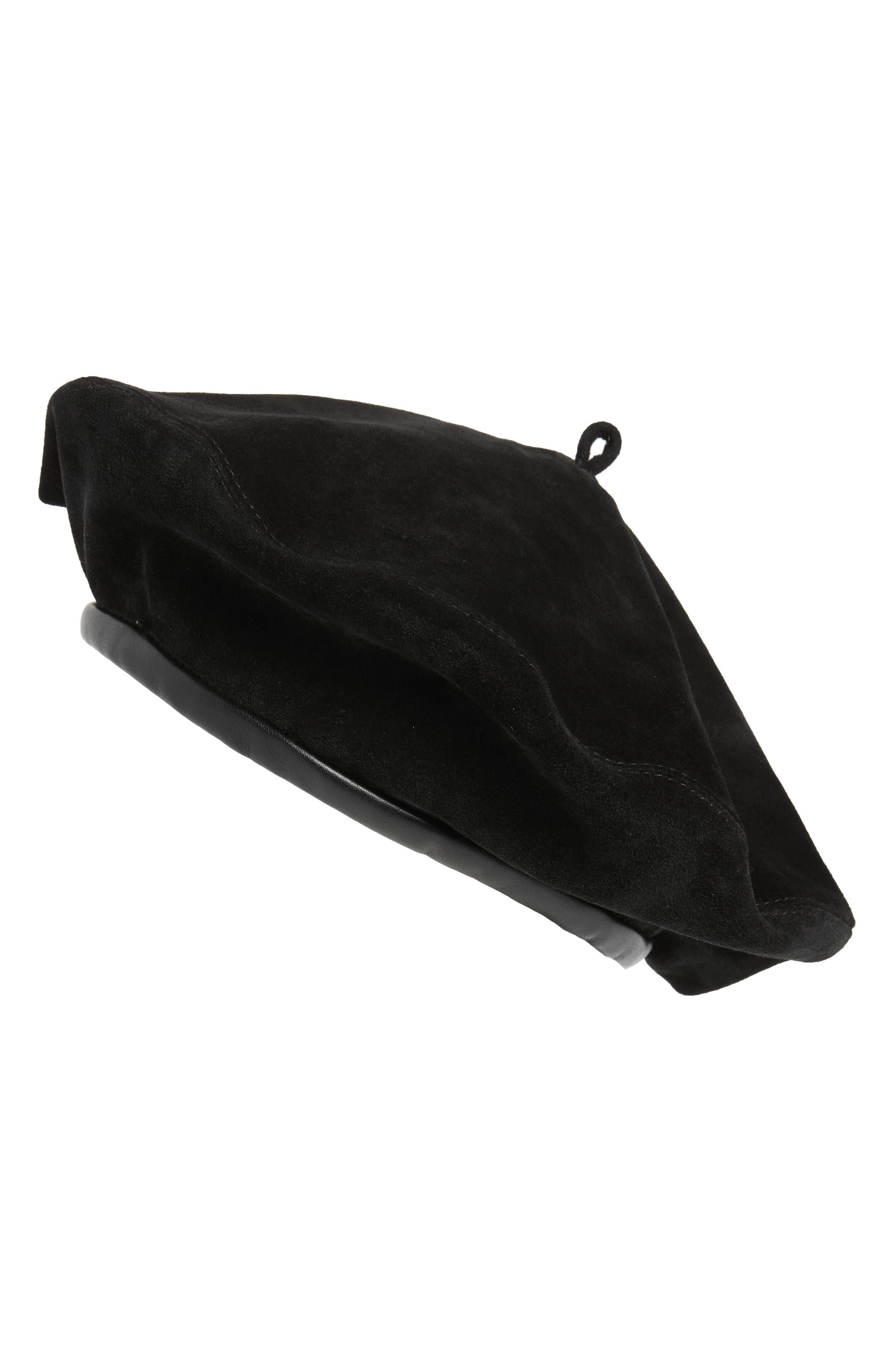 Kate Suede Adjustable Beret Hat in Black