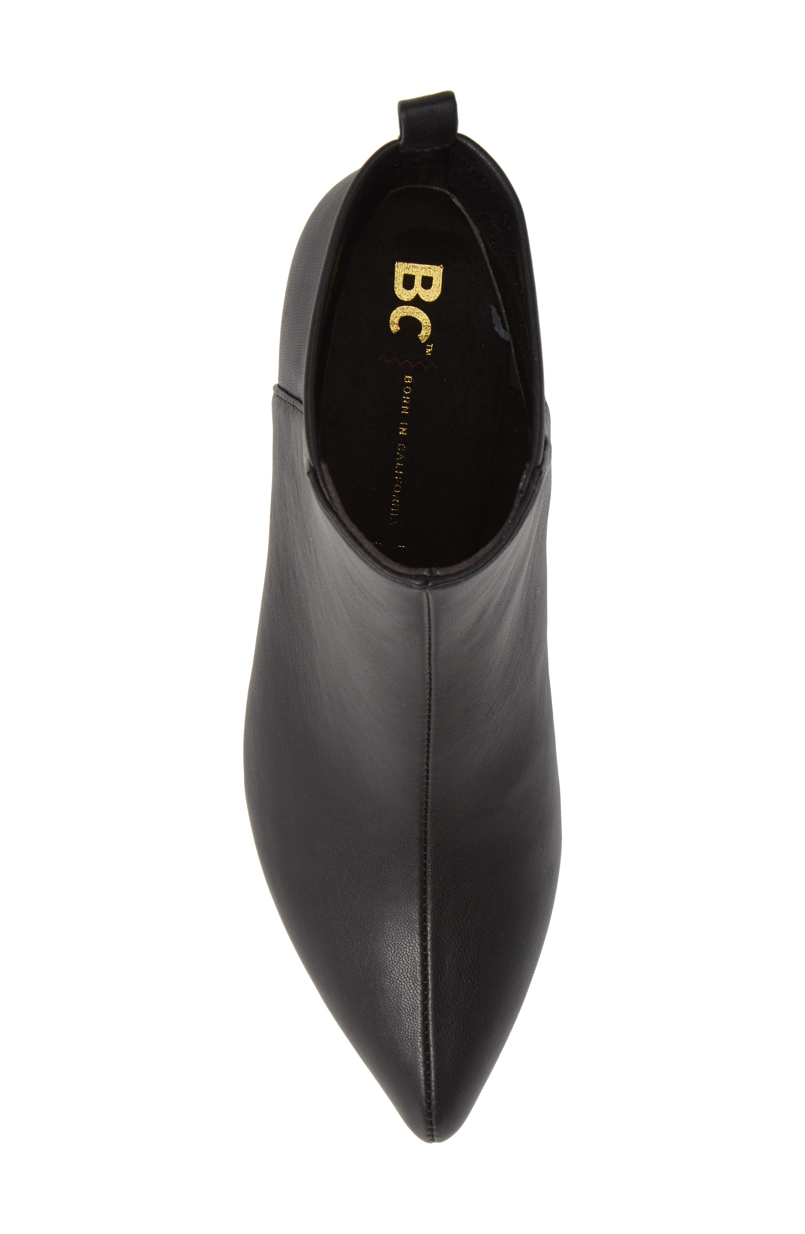 Millimeter Pointy Toe Bootie,                             Alternate thumbnail 5, color,                             BLACK STRETCH