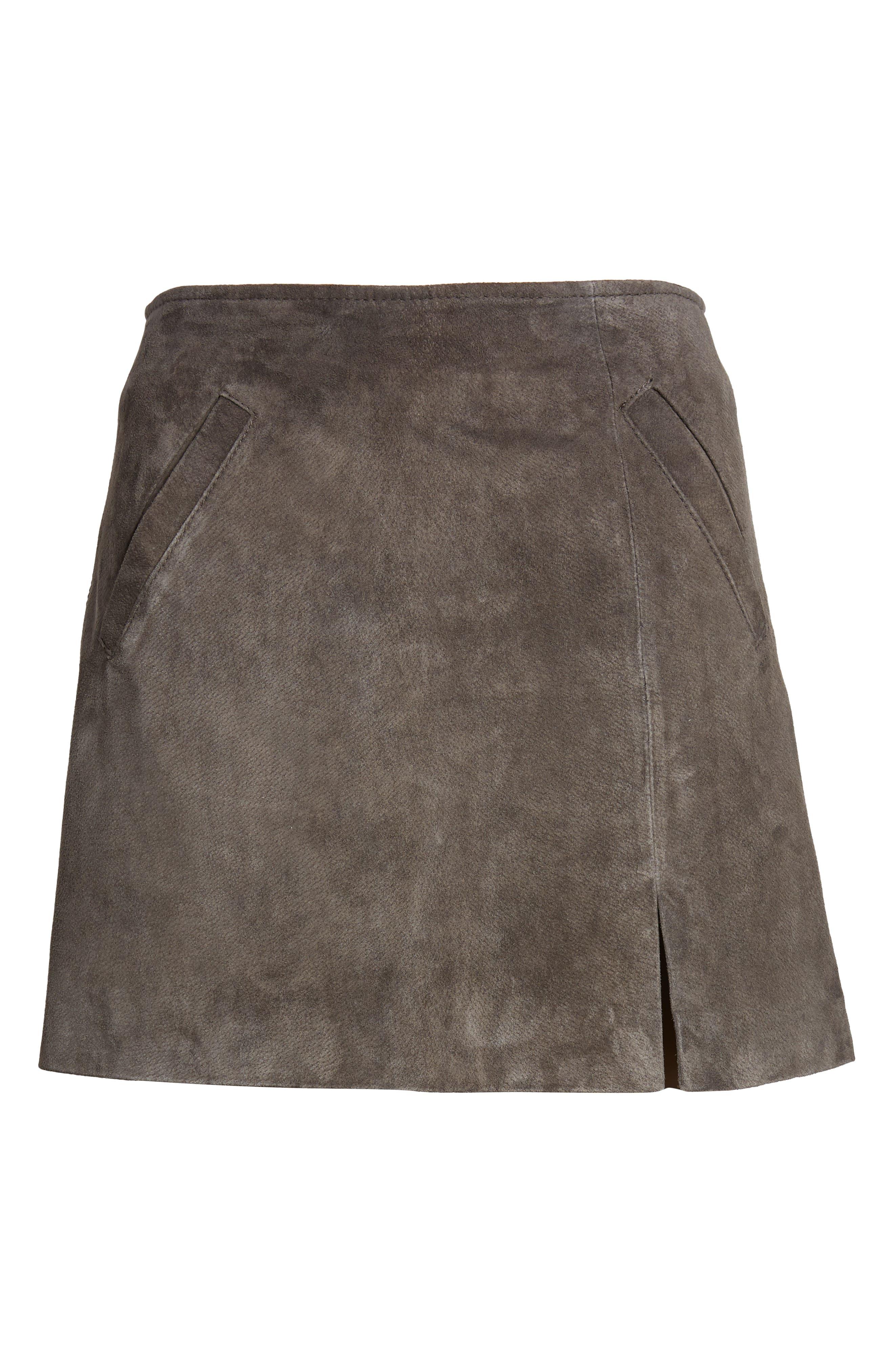 Suede Miniskirt,                             Alternate thumbnail 6, color,                             020