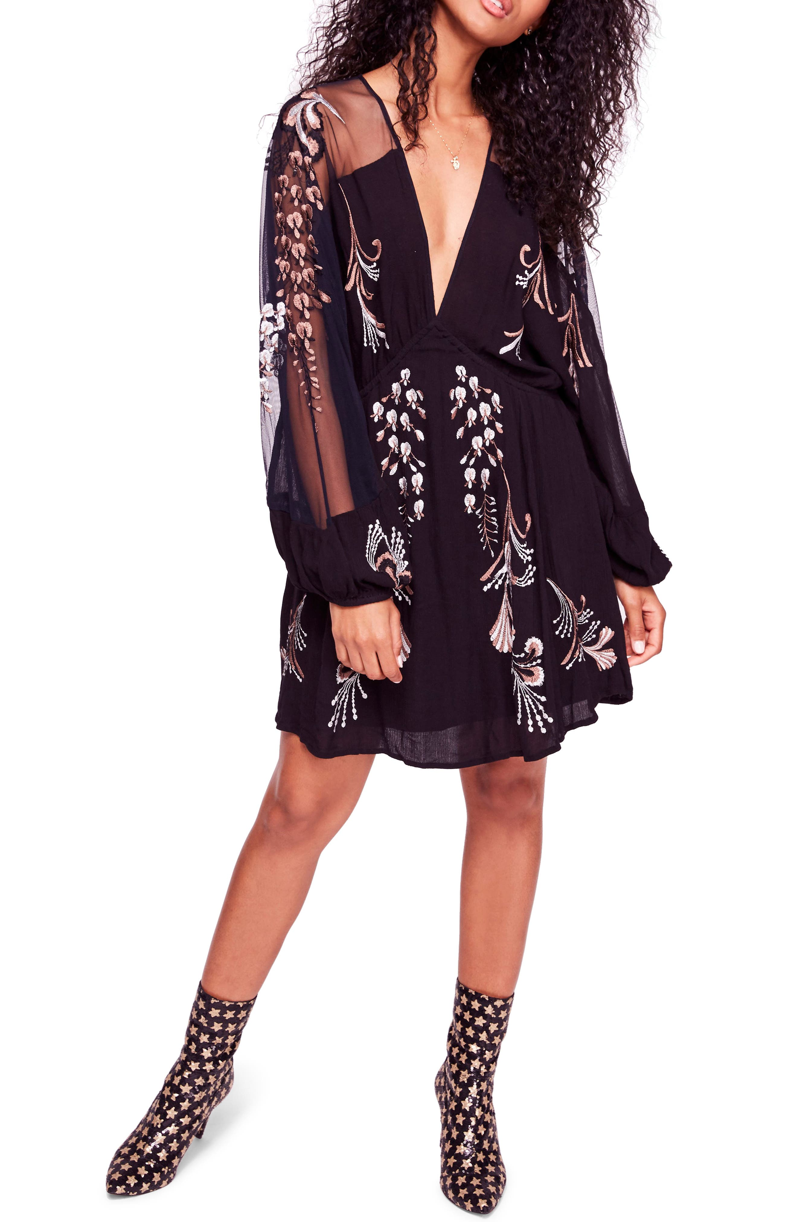 Bonjour Embroidered Illusion Lace Minidress, Main, color, 001