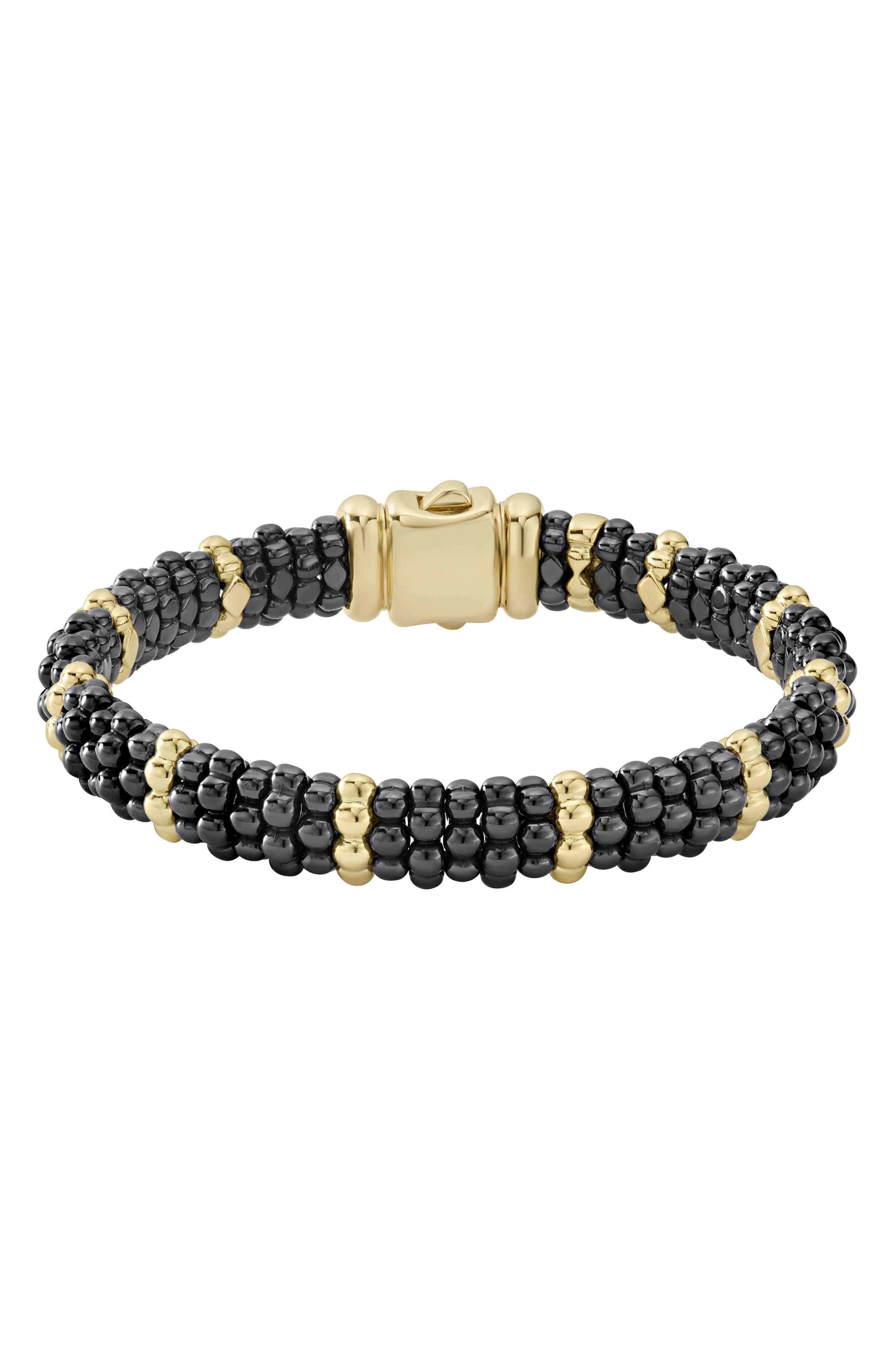 Gold & Black Caviar Station Bracelet,                             Main thumbnail 1, color,                             GOLD/ BLACK